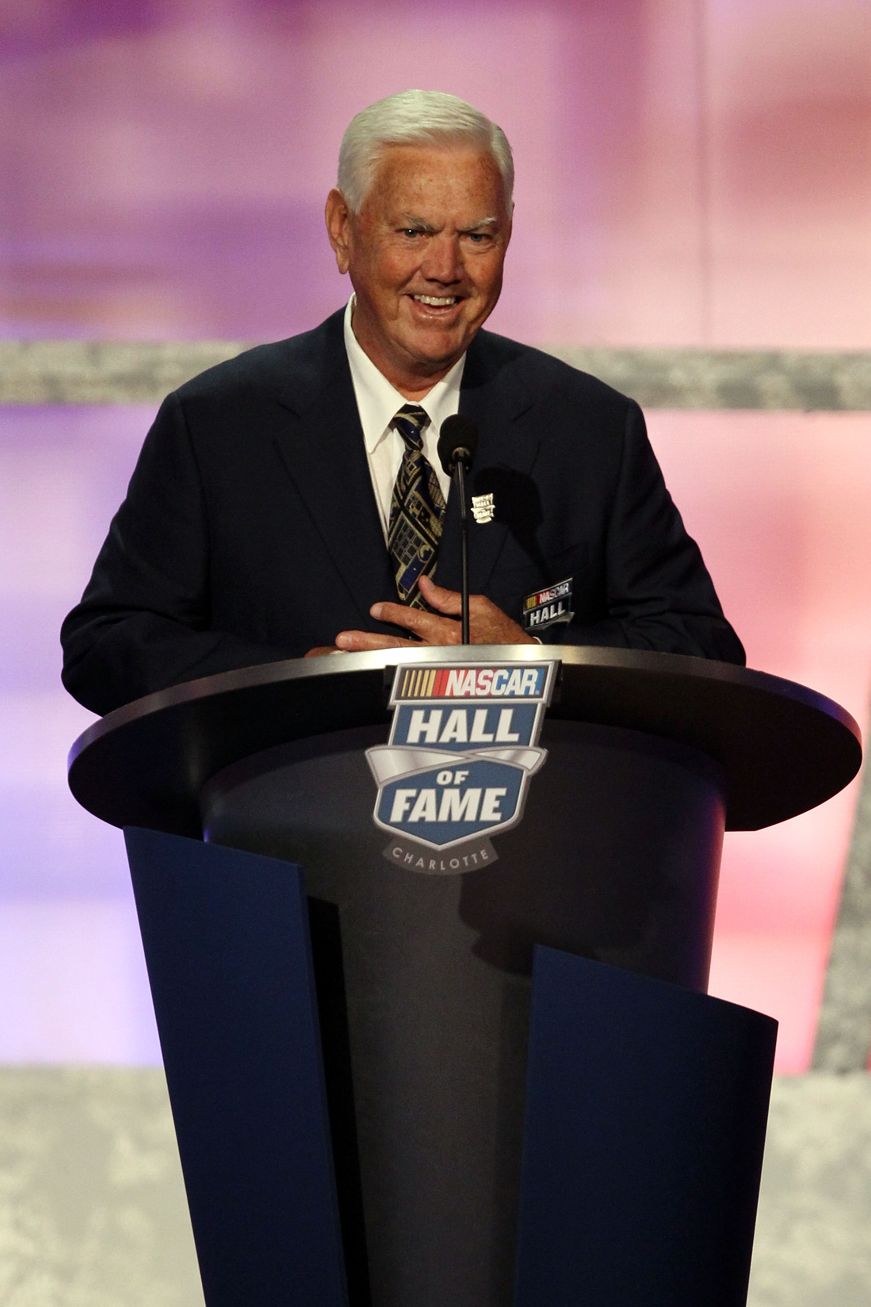 CHARLOTTE, NC - MAY 23:  Hall of Fame inductee Junior Johnson speaks during the 2010 NASCAR Hall of Fame Induction Ceremony at the Charlotte Convention Center on May 23, 2010 in Charlotte, North Carolina.  (Photo by Streeter Lecka/Getty Images)