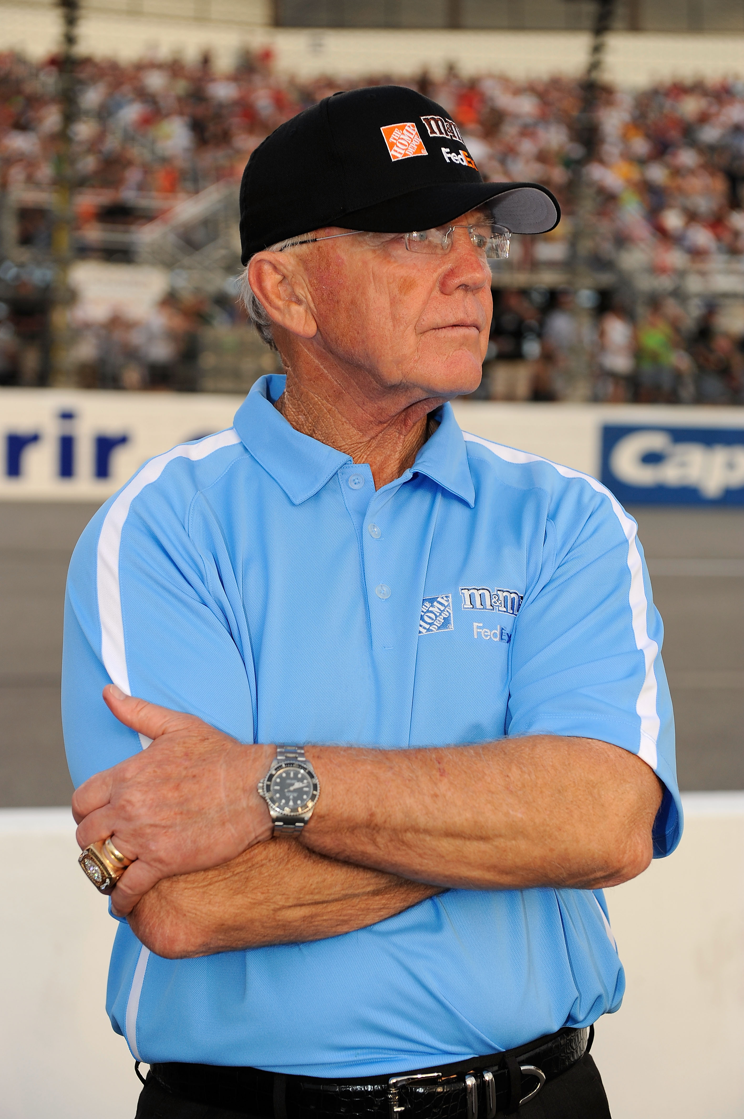 RICHMOND, VA - MAY 01:  Team owner Joe Gibbs looks on from the grid prior to the start of the NASCAR Sprint Cup Series Crown Royal Presents the Heath Calhoun 400 at Richmond International Raceway on May 1, 2010, 2010 in Richmond, Virginia.  (Photo by Rust