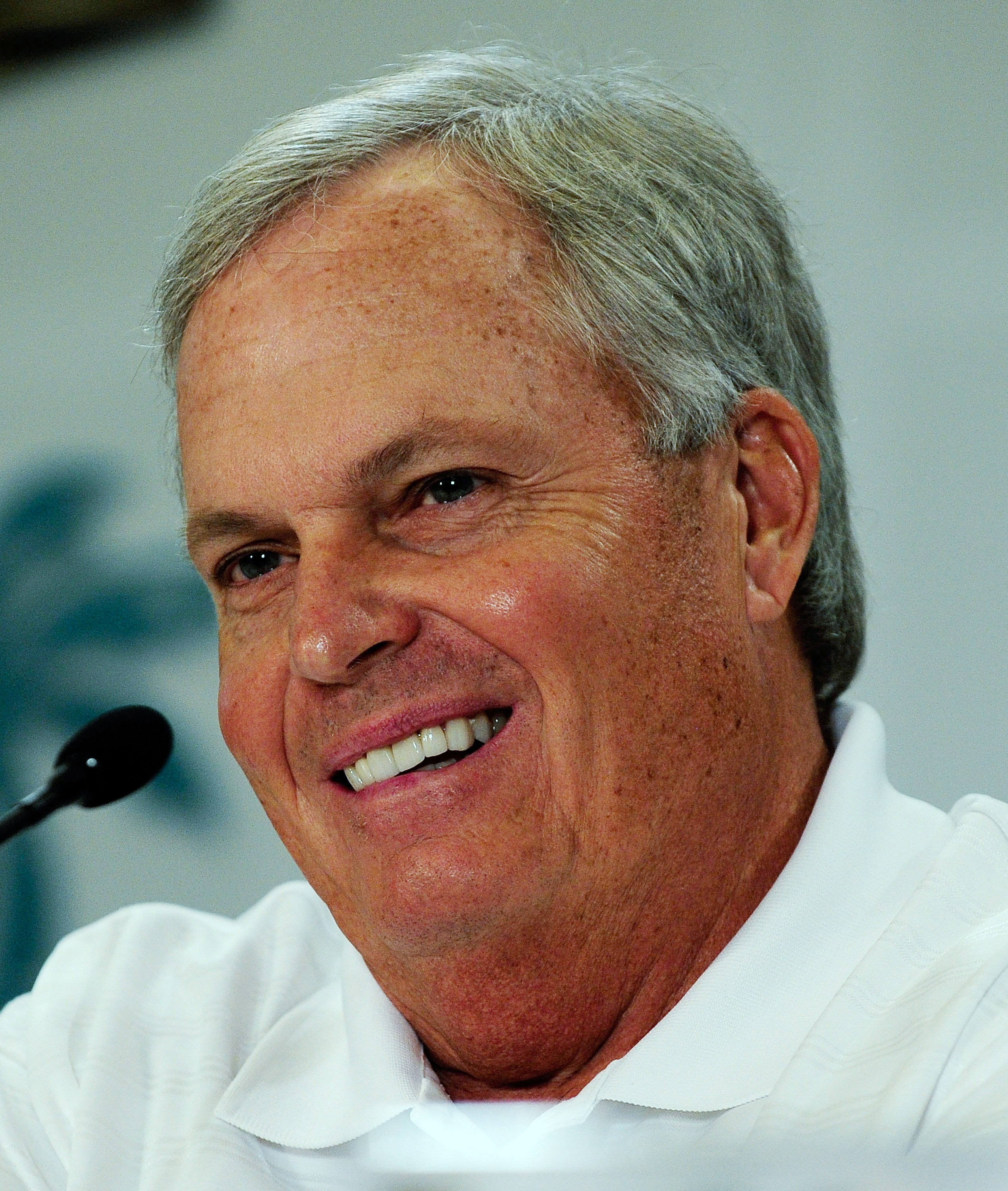 CORAL GABLES, FL - NOVEMBER 19:  Team owner Rick Hendrick speaks to the media during the NASCAR Championship Contenders  Press Conference on November 19, 2009 in Coral Gables, Florida.  (Photo by Sam Greenwood/Getty Images for NASCAR)