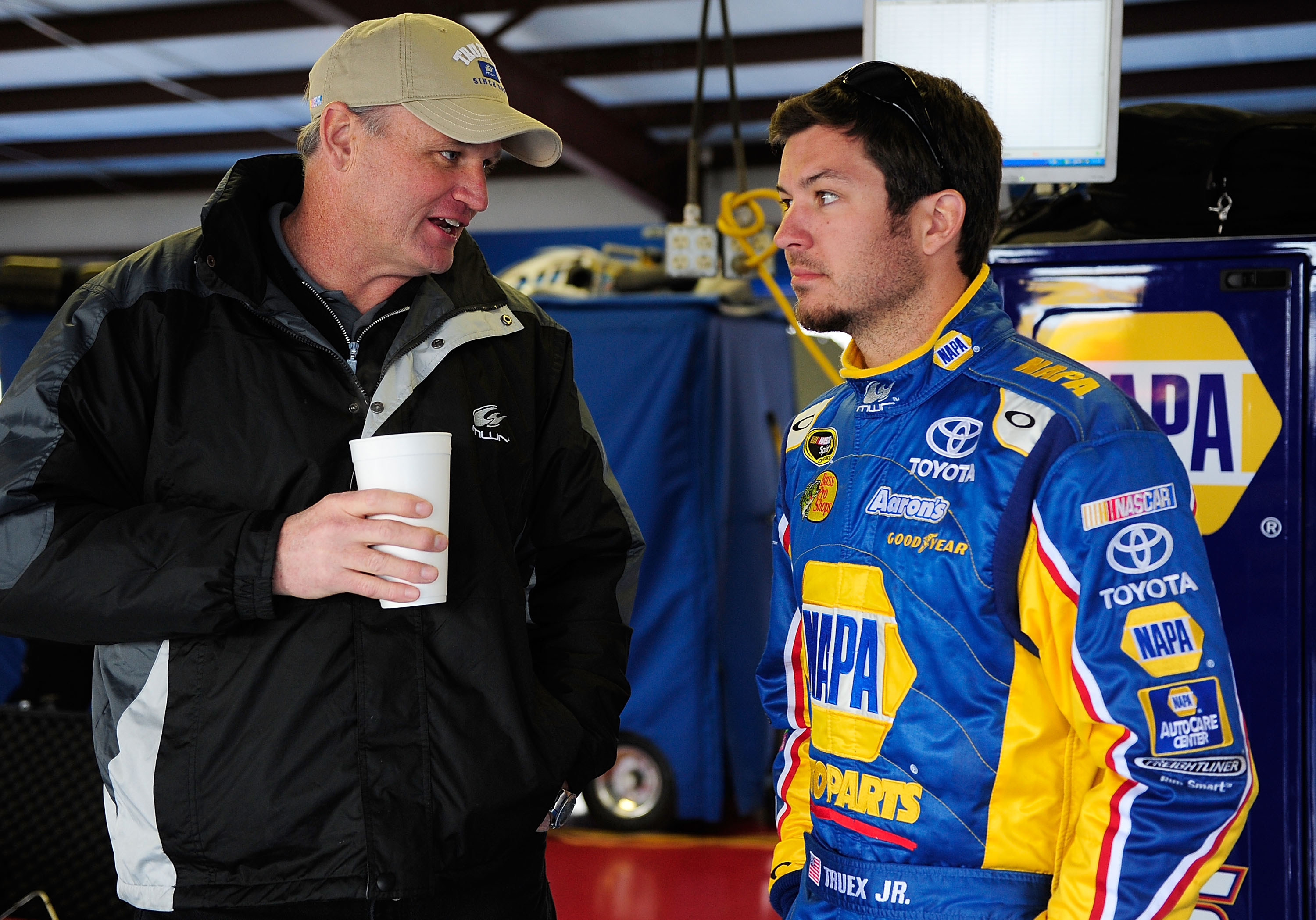 TALLADEGA, AL - MARCH 16:  Pat Tryson speaks with Martin Truex Jr., driver of the #56 NAPA Toyota in the garage during testing for the NASCAR Sprint Cup Series at Talladega Superspeedway on March 16, 2010 in Talladega, Alabama.  (Photo by Rusty Jarrett/Ge
