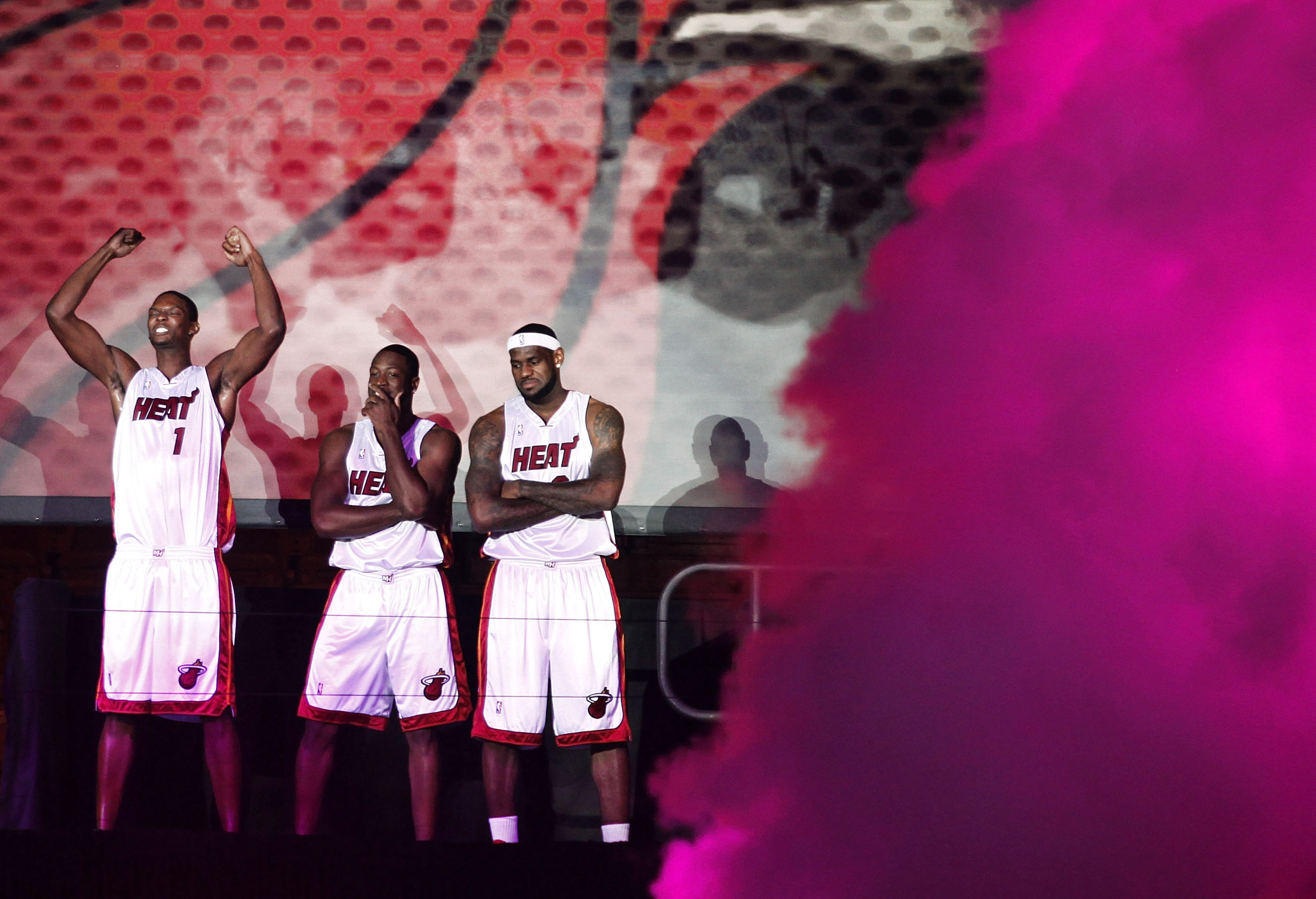 MIAMI - JULY 09:  (L-R) Chris Bosh #1, Dwyane Wade #3, and LeBron James #6 of the Miami Heat are introduced during a welcome party at American Airlines Arena on July 9, 2010 in Miami, Florida.  (Photo by Marc Serota/Getty Images)