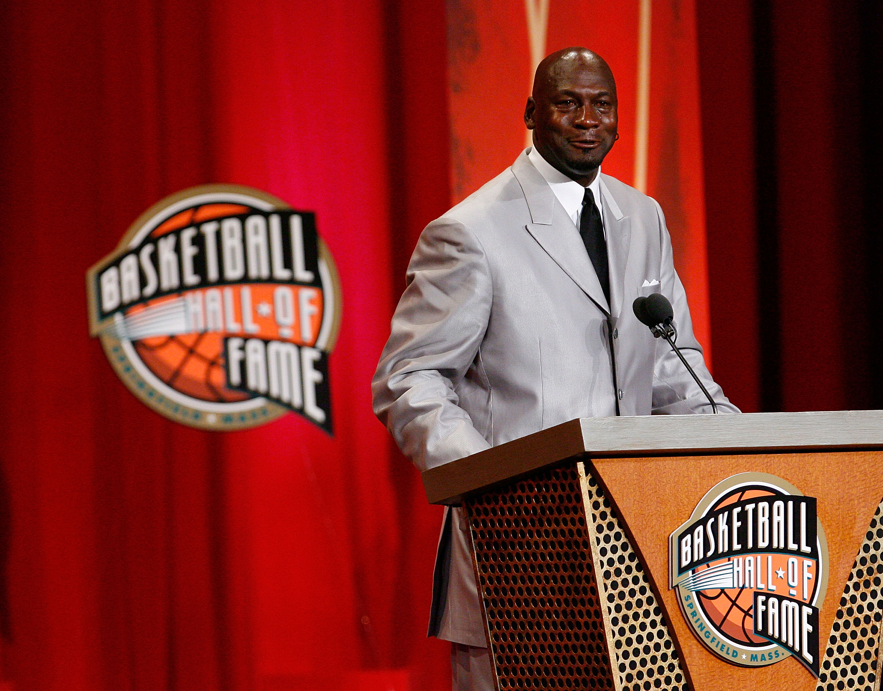 SPRINGFIELD, MA - SEPTEMBER 11: Michael Jordan to the Naismith Memorial Basketball Hall of Fame speaks during an induction ceremony on September 11, 2009 in Springfield, Massachusetts. NOTE TO USER: User expressly acknowledges and agrees that, by download