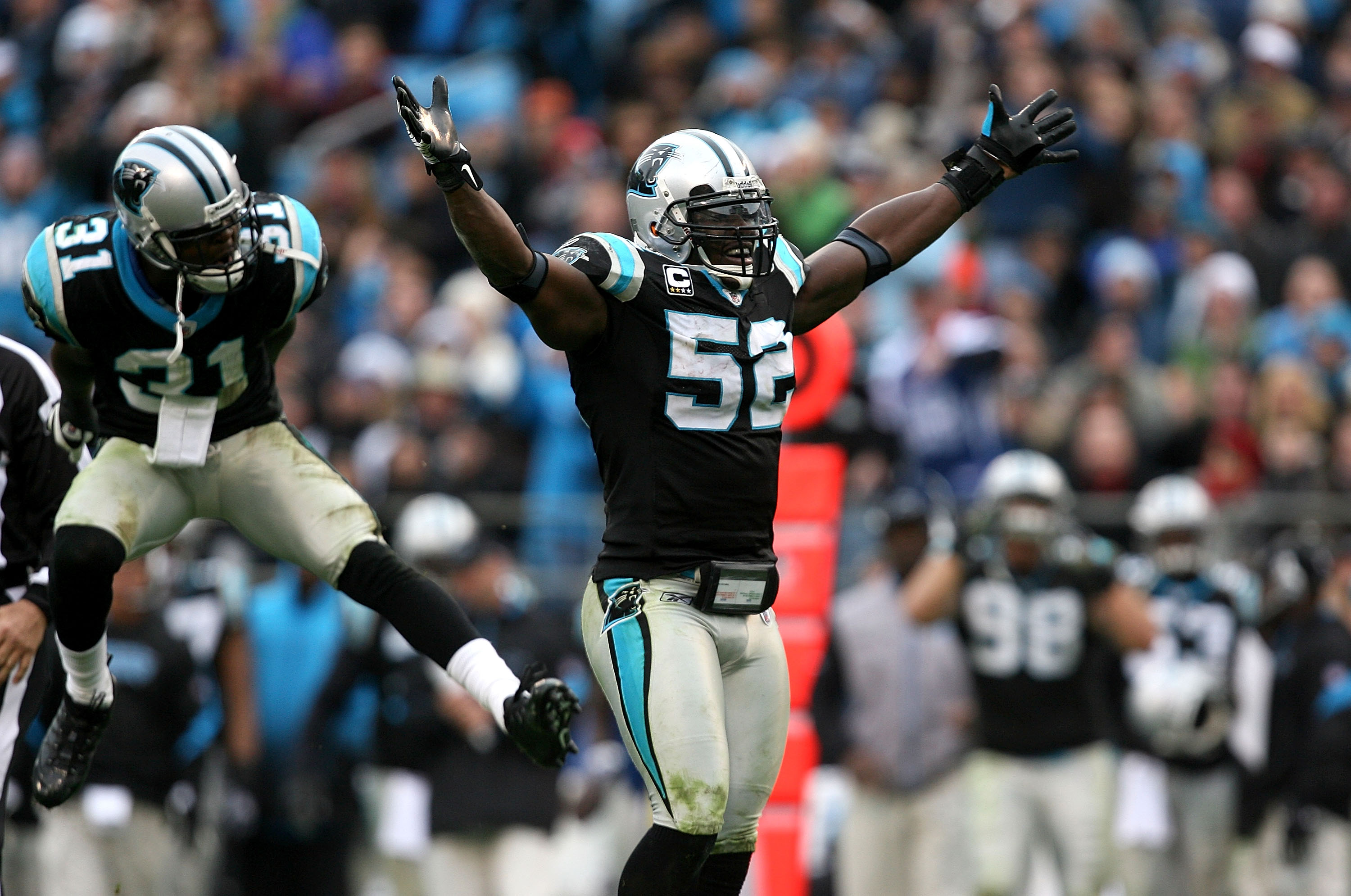 CHARLOTTE, NC - DECEMBER 06:  Teammates Richard Marshall #31 and Jon Beason #52 of the Carolina Panthers celebrate after a turnover during their game against the Tampa Bay Buccaneers at Bank of America Stadium on December 6, 2009 in Charlotte, North Carol