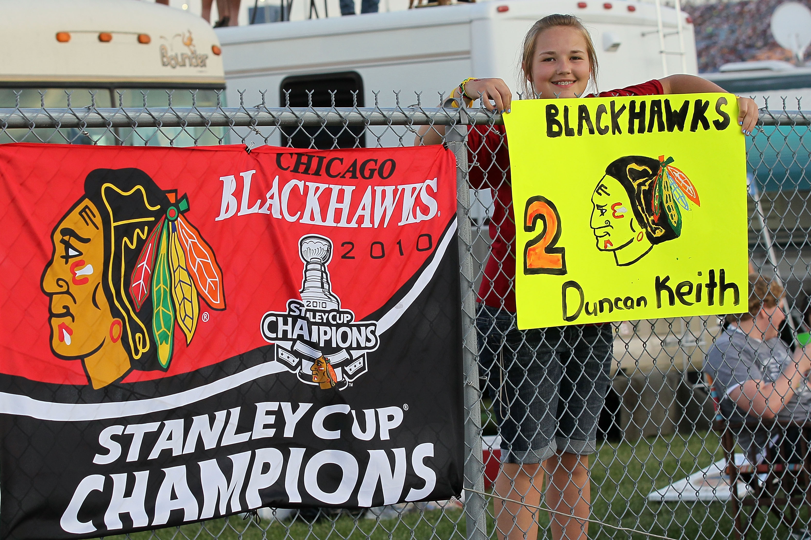 JOLIET, IL - JULY 10:  Nascar fans show support for Duncan Keith of the NYL's Chicago Blackhawks during the NASCAR Sprint Cup Series LIFELOCK.COM 400 at the Chicagoland Speedway on July 10, 2010 in Joliet, Illinois.  (Photo by Andy Lyons/Getty Images)