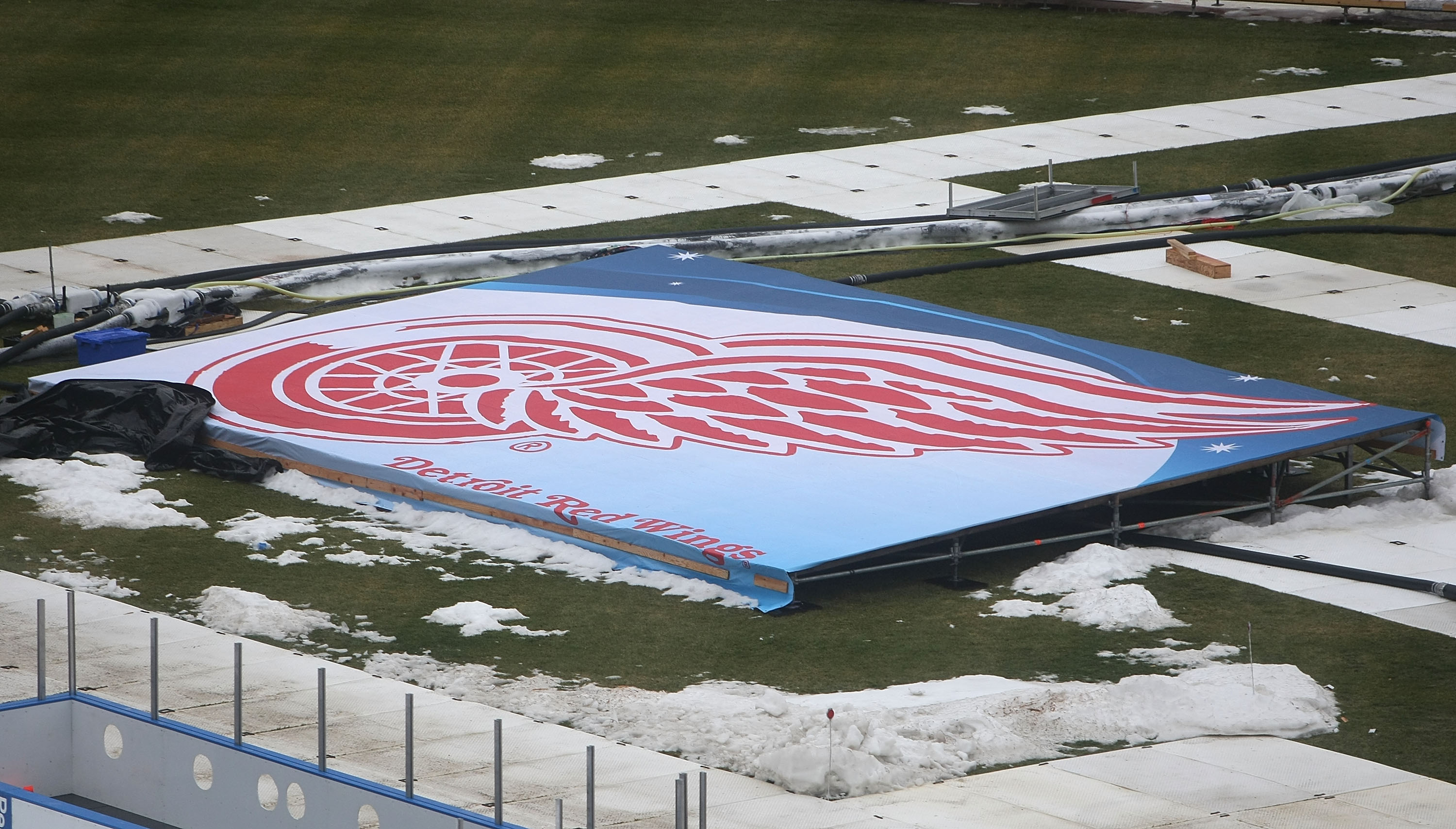 CHICAGO - DECEMBER 27: A Detroit Redwings logo is seen as preparations continue during a media availability for the 2009 NHL Winter Classic on December 27, 2008 at Wrigley Field in Chicago, Illinois. The Winter Classic will feature the Chicago Blackhawks