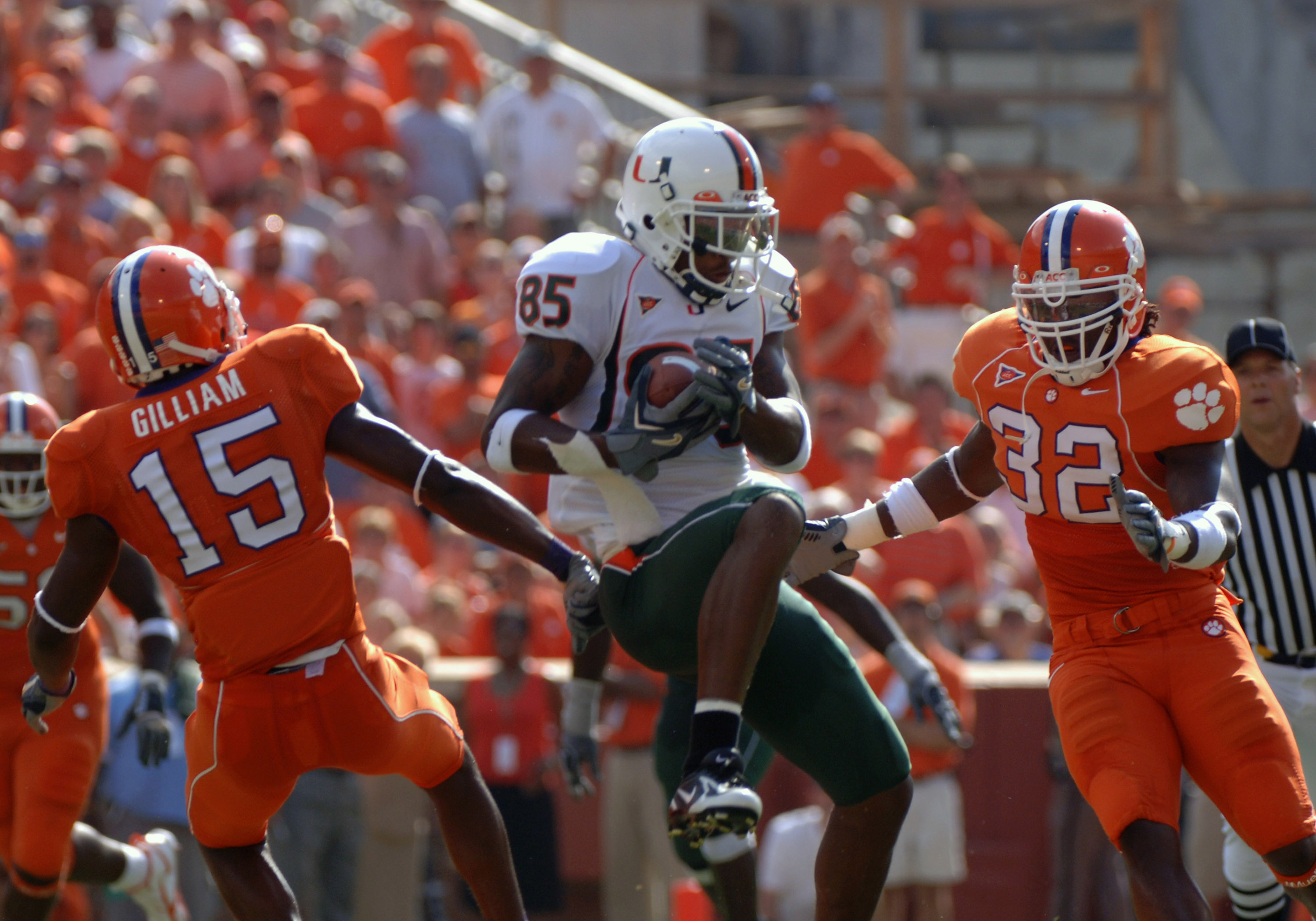 University of Miami wide receiver Ryan Moore grabs a pass over the middle against Clemson September 17, 2005 at Clemson. (Photo by A. Messerschmidt/Getty Images)