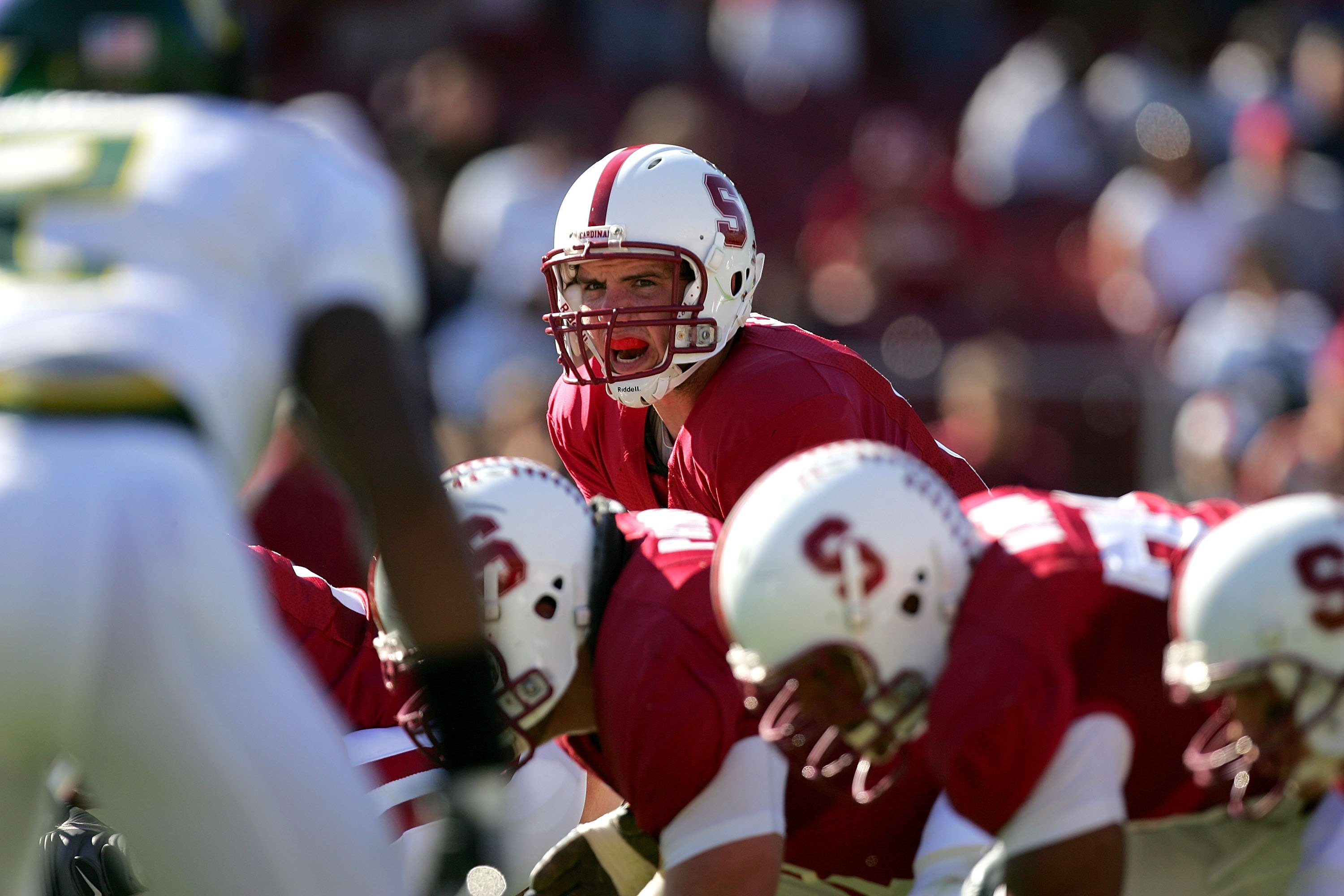 PALO ALTO, CA - NOVEMBER 07:  Andrew Luck #12 of the Stanford Cardinal shouts out instructions to his team during their game against the Oregon Ducks at Stanford Stadium on November 7, 2009 in Palo Alto, California.  (Photo by Ezra Shaw/Getty Images)