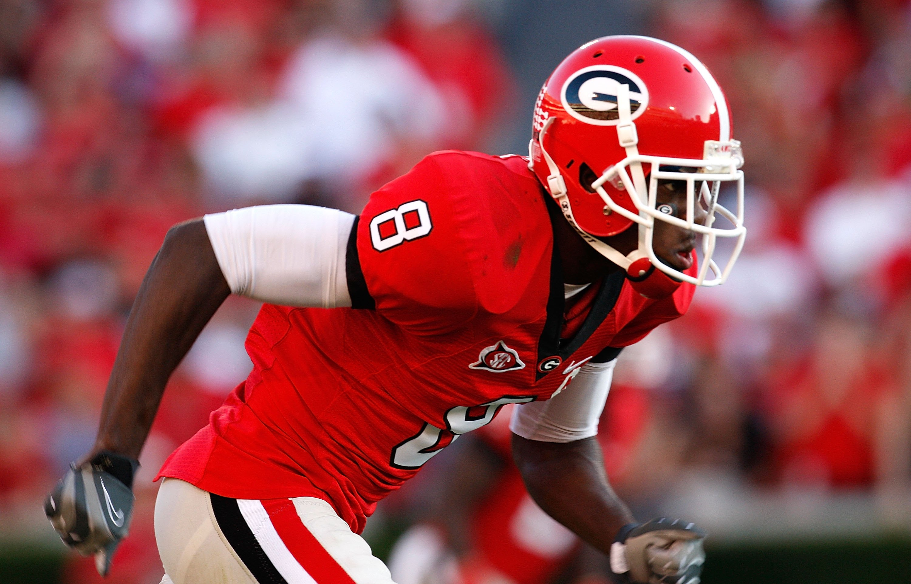 ATHENS, GA - OCTOBER 03:  A.J. Green #8 of the Georgia Bulldogs against the Louisiana State University Tigers at Sanford Stadium on October 3, 2009 in Athens, Georgia.  (Photo by Kevin C. Cox/Getty Images)