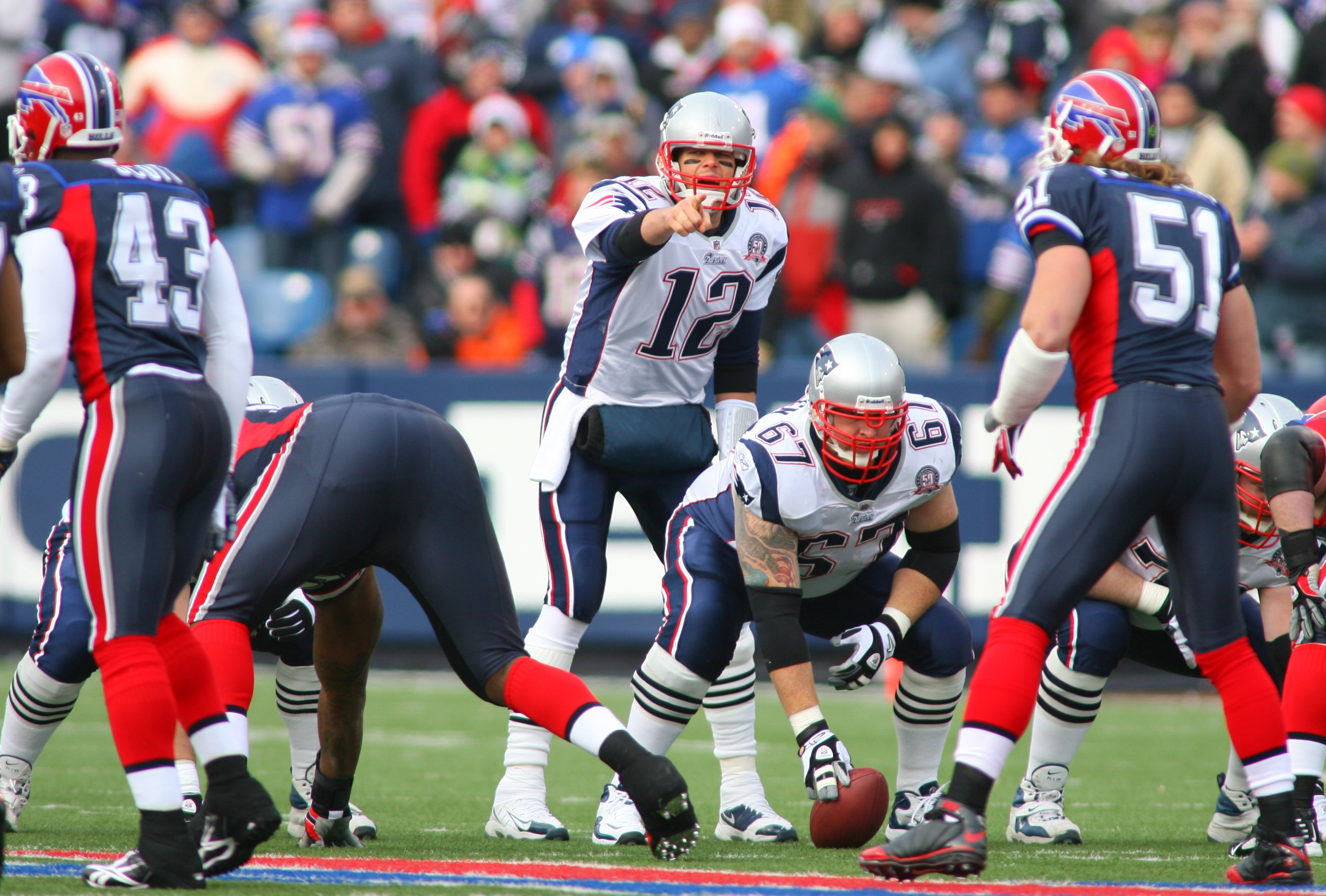 ORCHARD PARK, NY - DECEMBER 20: Tom Brady #12 of the New England Patriots calls a play against the Buffalo Bills during the game at Ralph Wilson Stadium on December 20, 2009 in Orchard Park, New York. (Photo by: Rick Stewart/Getty Images)