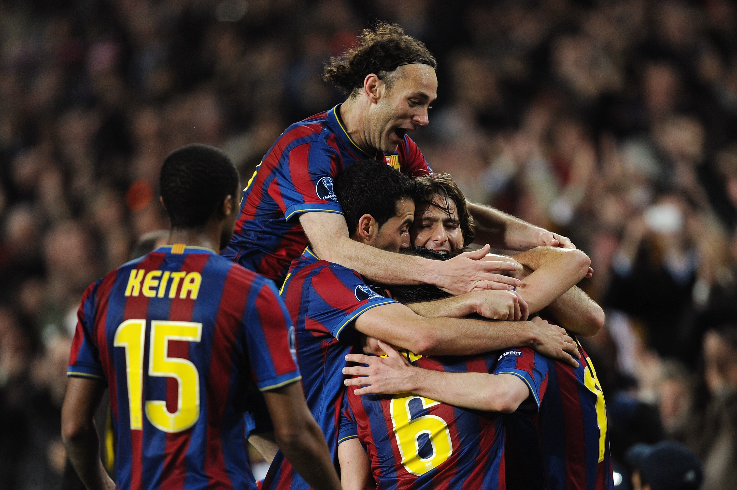BARCELONA, SPAIN - APRIL 06:  Players of Barcelona celebrate their fourth goal scored by Lionel Messi during the UEFA Champions League quarter final second leg match between Barcelona and Arsenal at Camp Nou on April 6, 2010 in Barcelona, Spain.  (Photo b