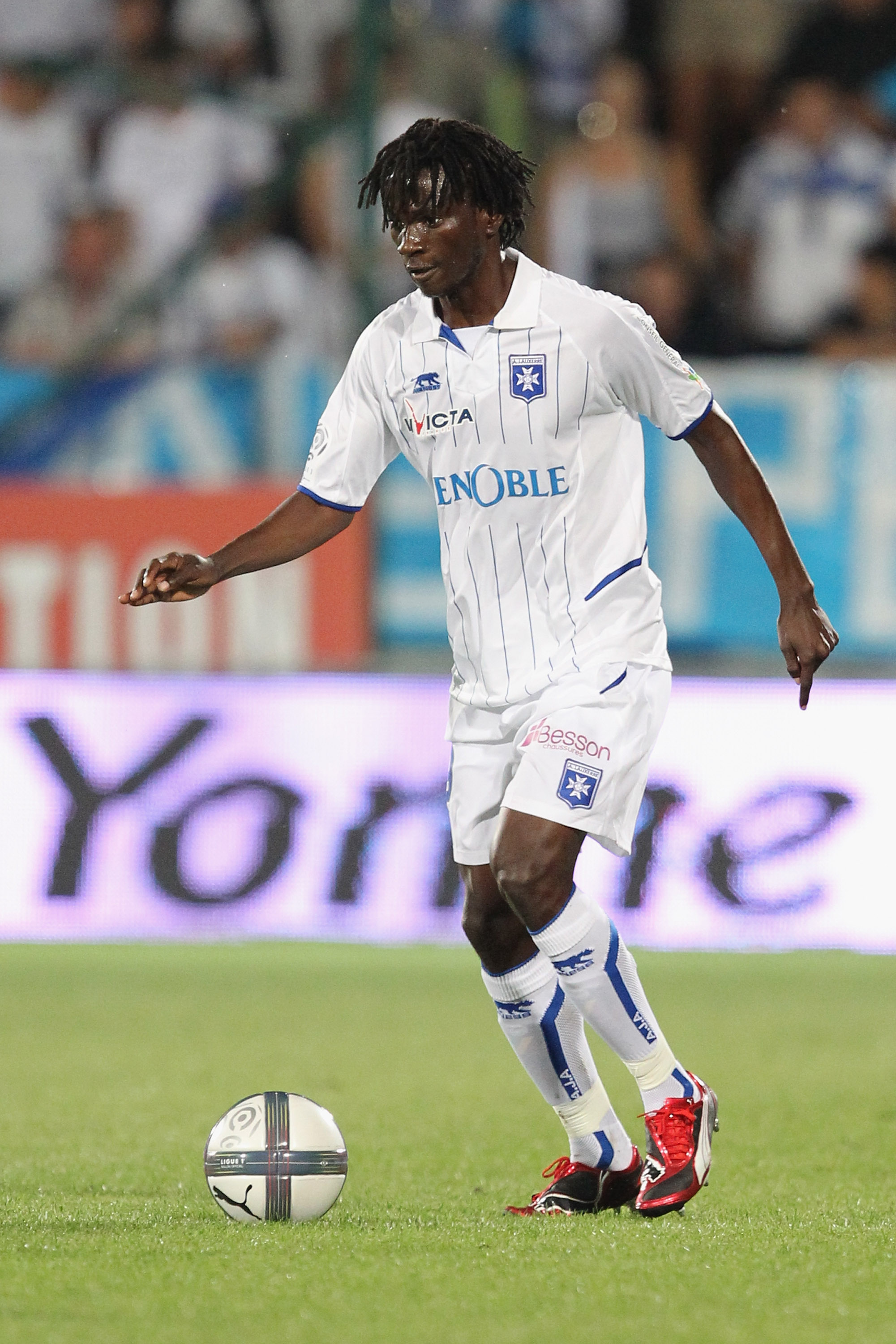 AUXERRE, FRANCE - AUGUST 07:  Delvin Ndinga of Auxerre in action during  the Ligue 1 match between Auxerre and Lorient at Abbe-Deschamp Stadium on August 7, 2010 in Auxerre, France.  (Photo by Julien M. Hekimian/Getty Images)