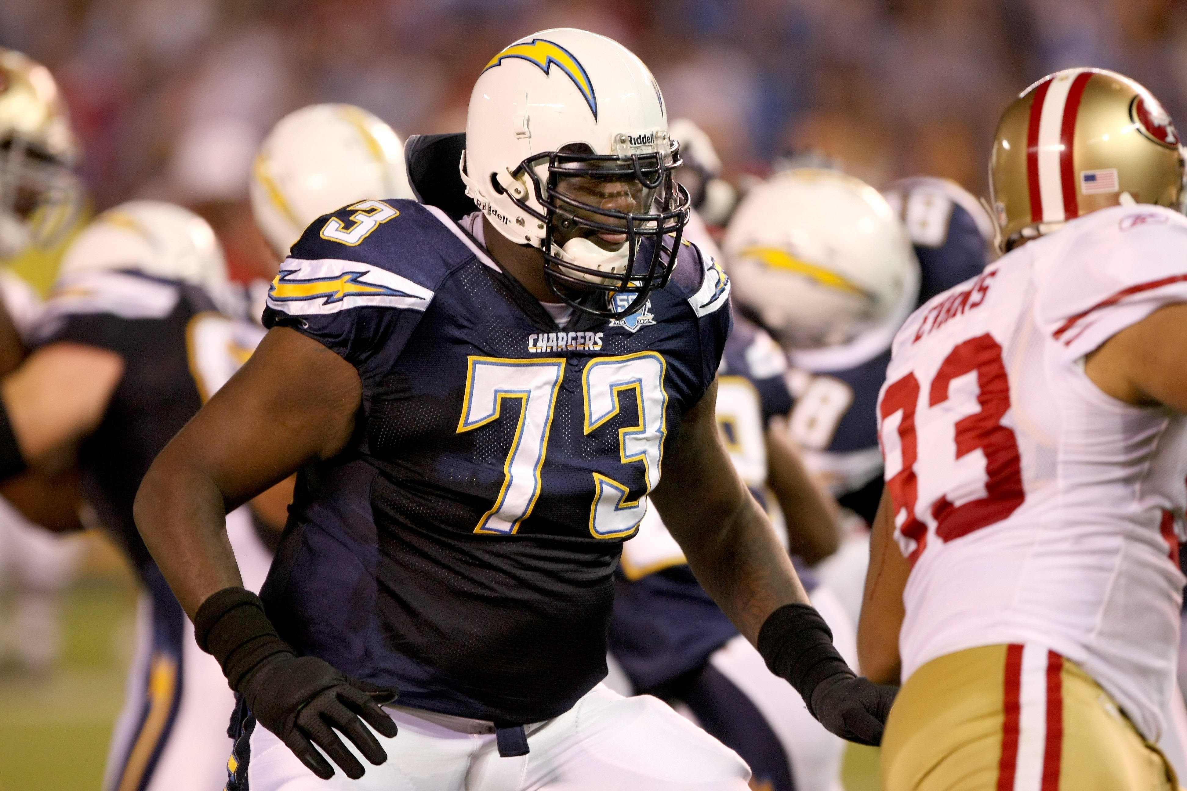 SAN DIEGO - SEPTEMBER 4:  Tackle Marcus McNeill #73 of the San Diego Chargers blocks against the San Francisco 49ers on September 4, 2009 at Qualcomm Stadium in San Diego, California.   The Chrgers won 26-7.  (Photo by Stephen Dunn/Getty Images)
