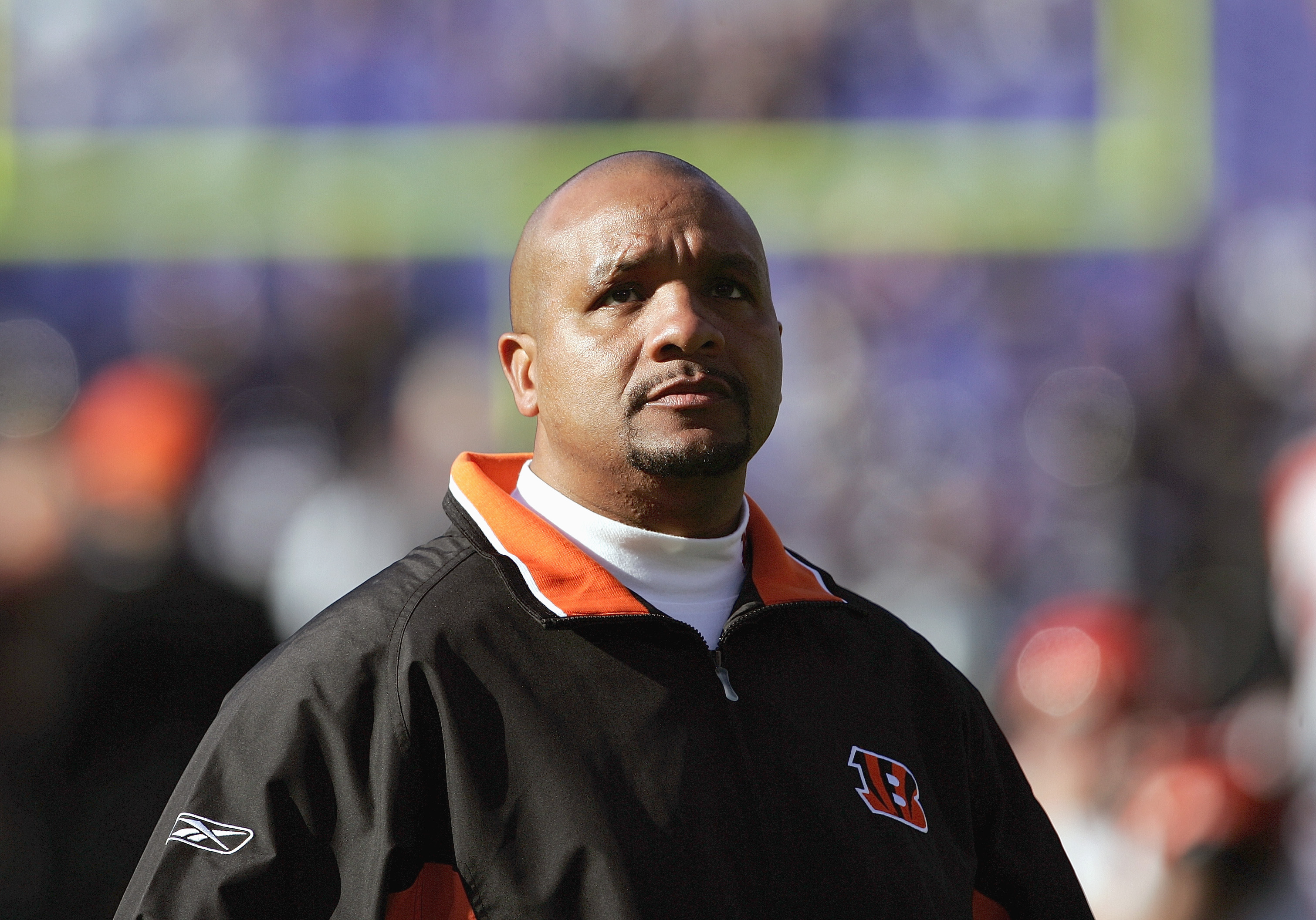BALTIMORE - DECEMBER 5:  Wide receivers coach Hue Jackson of the Cincinnati Bengals looks on before the game against the Baltimore Ravens at M&T Bank Stadium on December 5, 2004 in Baltimore, Maryland.  The Bengals defeated the Ravens 27-26.  (Photo by Do