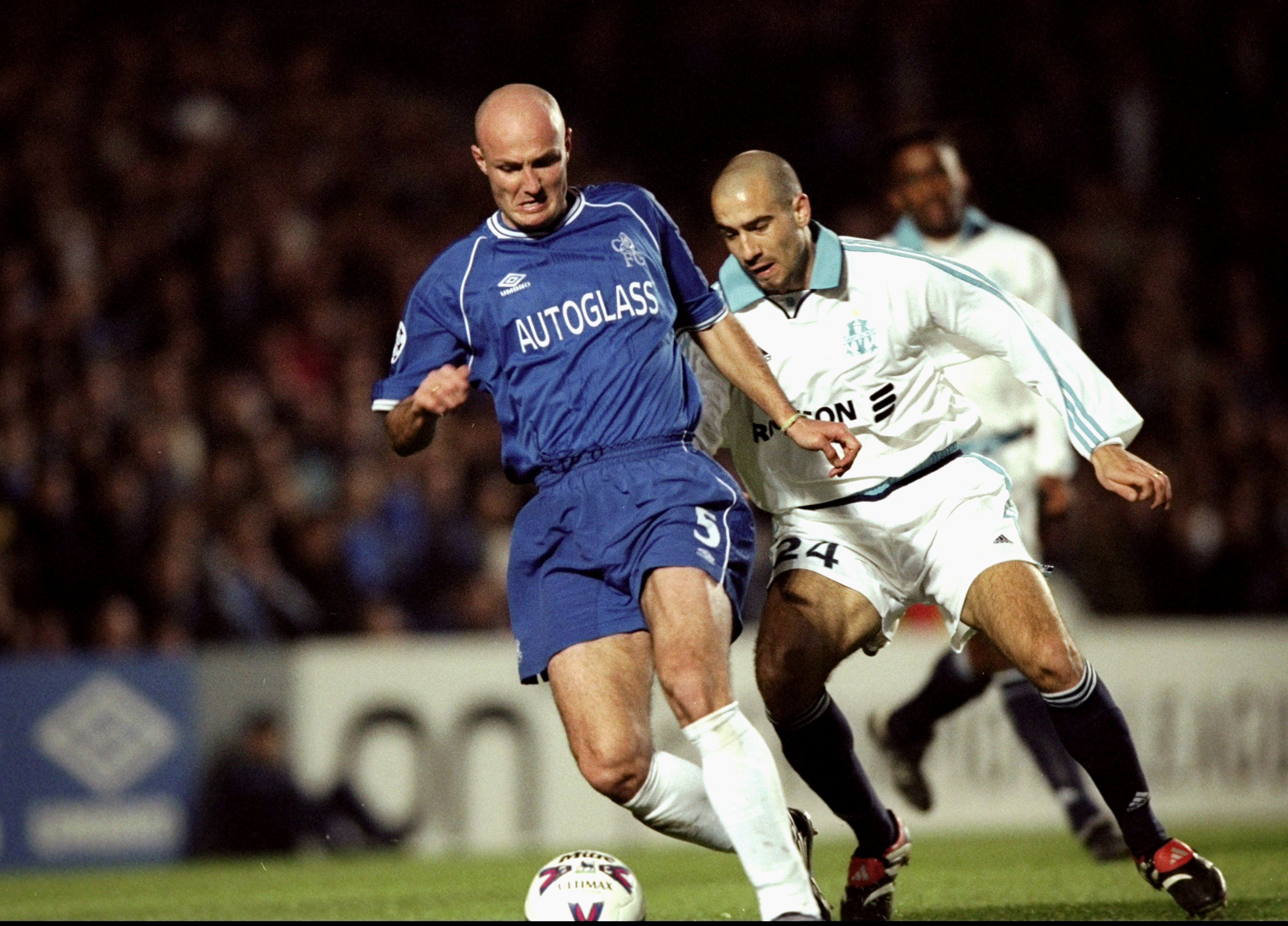 8 Mar 2000:  Frank Leboeuf of Chelsea holds off Yannick Fischer of Marseille during the UEFA Champions League group D match at Stamford Bridge in London. Chelsea won 1-0. \ Mandatory Credit: Graham Chadwick /Allsport