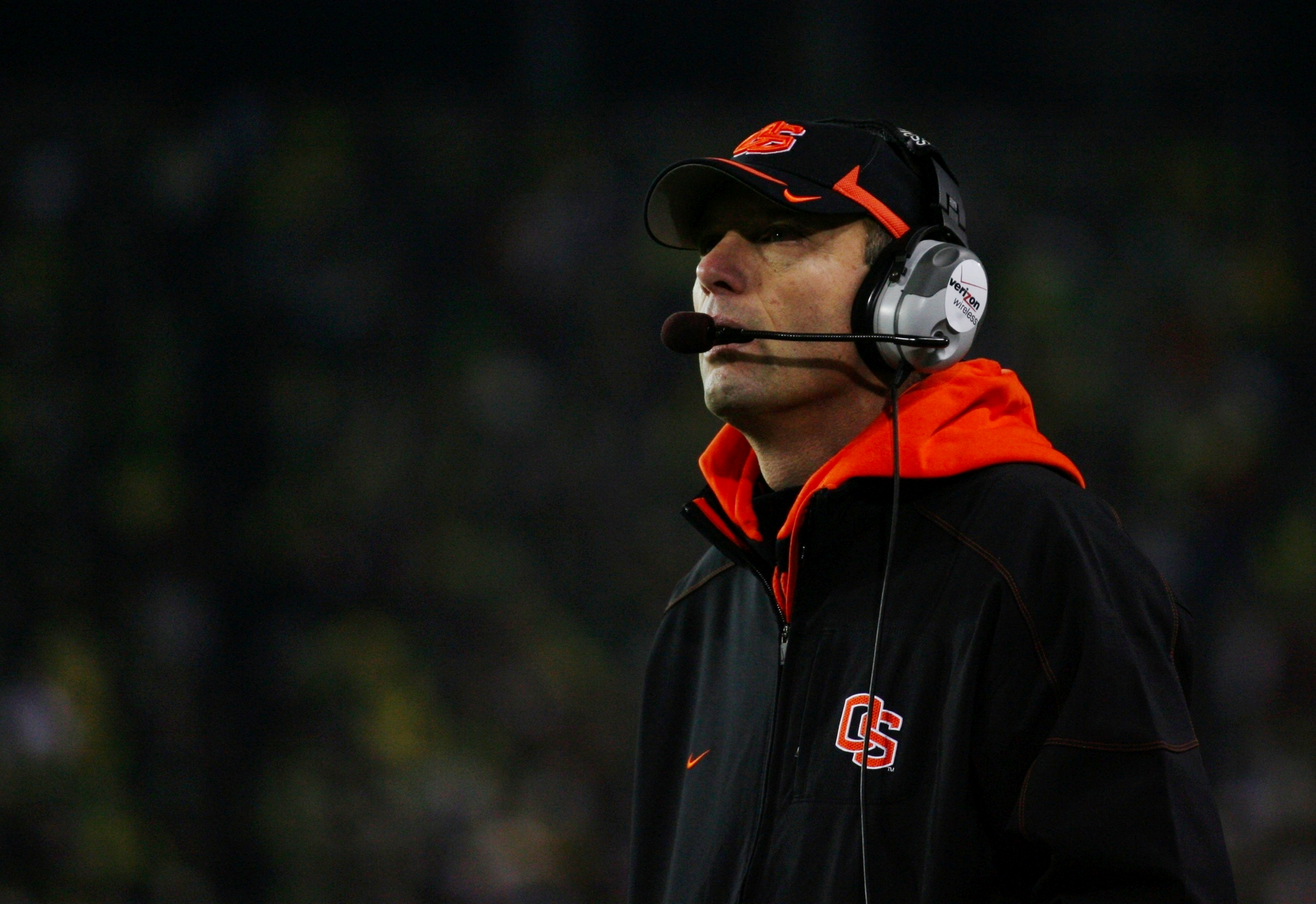 EUGENE,OR - DECEMBER 03:  Head coach Mike Riley of the Oregon State Beavers watches play against the Oregon Ducks at Autzen Stadium on December 3, 2009 in Eugene, Oregon.  (Photo by Tom Hauck/Getty Images)