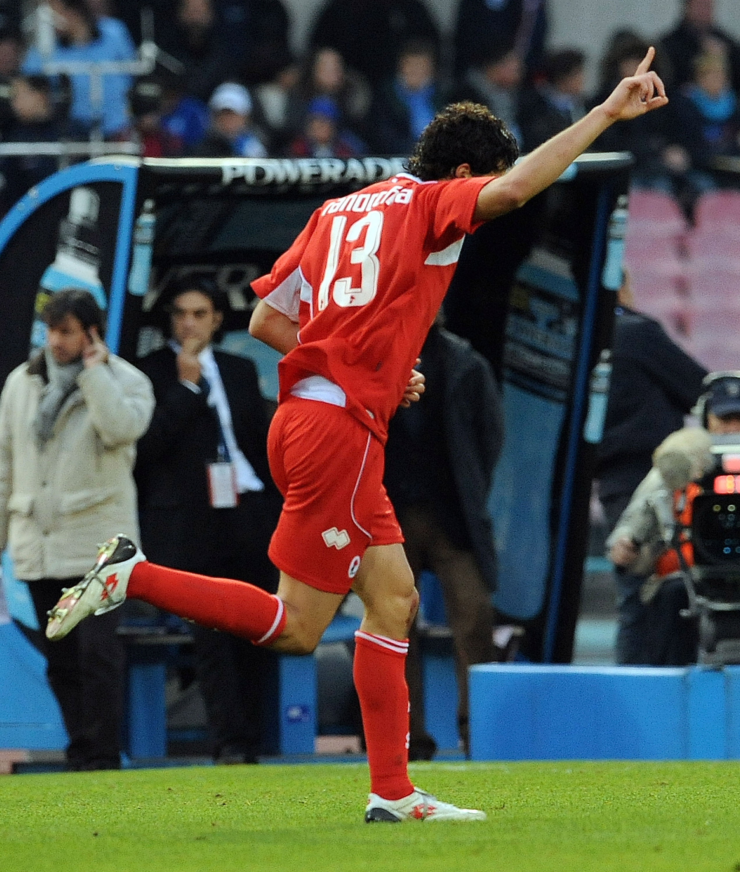 NAPLES, ITALY - DECEMBER 06:  Andrea Ranocchia of AS Bari celebrates after scoring their second goal during the Serie A match between SSC Napoli and AS Bari at Stadio San Paolo on December 6, 2009 in Naples, Italy.  (Photo by Giuseppe Bellini/Getty Images