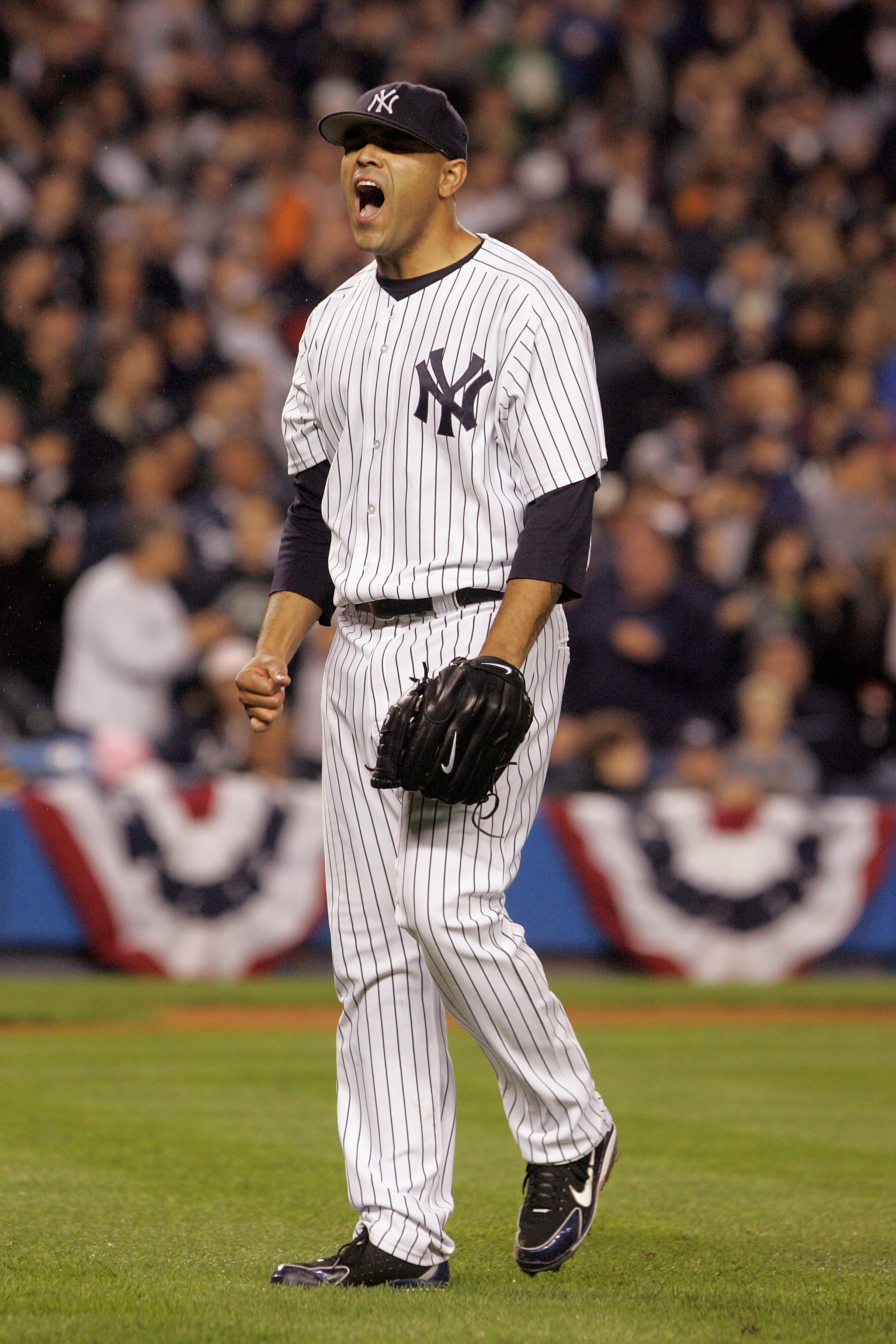 Shawn Chacon in the moment that defined his pinstripe legacy as he held the Angels to 2 runs in Game 4 of the ALDS.
