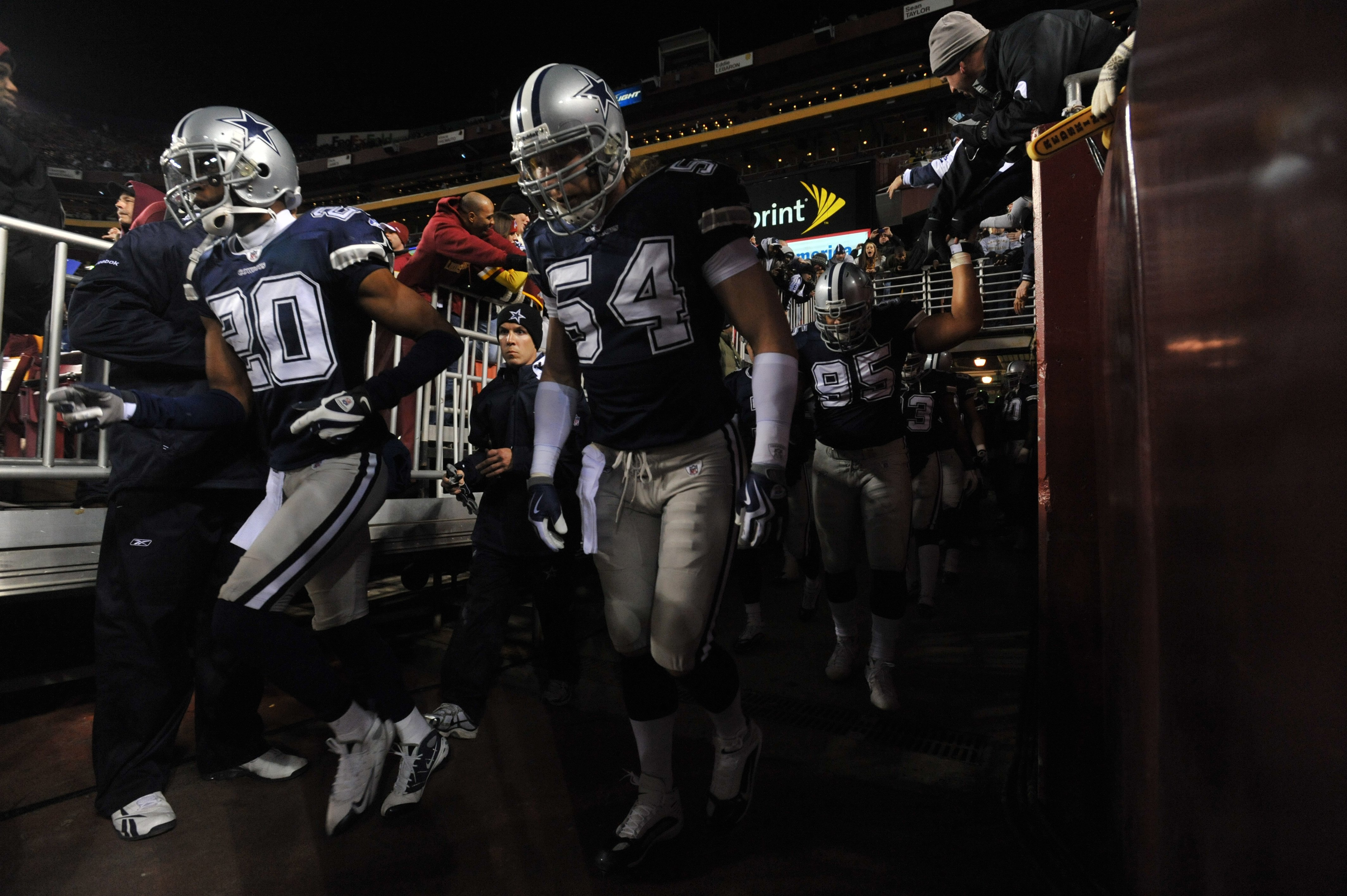 LANDOVER, MD - DECEMBER 27:  Bobby Carpenter #54 of the Dallas Cowboys prepares to run onto the field before the game against the Washington Redskins at FedExField on December 27, 2009 in Landover, Maryland. The Cowboys defeated the Redskins 17-0. (Photo