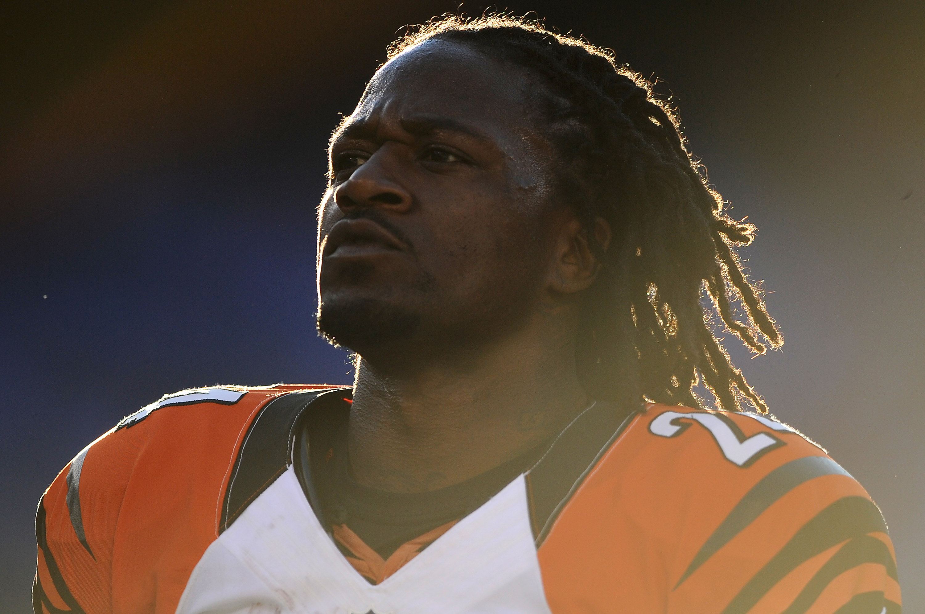 BALTIMORE, MD - SEPTEMBER 10: Cornerback Adam Jones #24 of the Cincinnati Bengals stands on the field before playing the Baltimore Ravens at M&T Bank Stadium on September 10, 2012 in Baltimore, Maryland. The Ravens won 44-13. (Photo by Patrick Smith/Getty