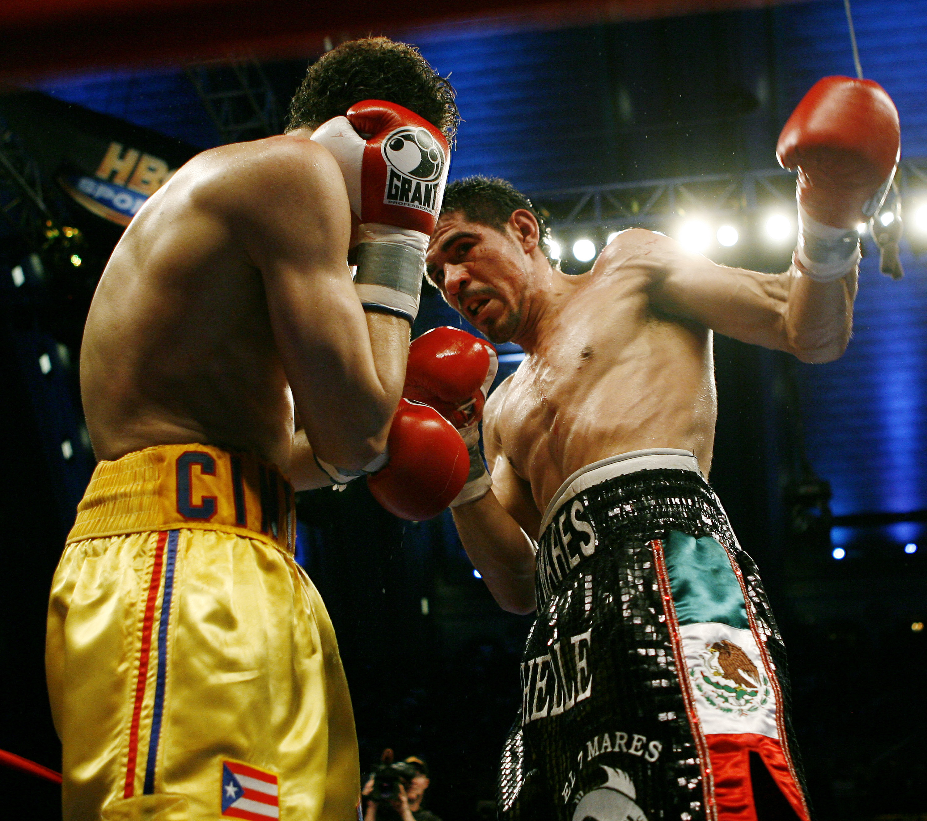 ATLANTIC CITY, NJ  - APRIL 12: Antonio Margarito throws a left during his IBF World Welterweight Title bout against Kermit Cintron at Boardwalk Hall on April 12, 2008 in Atlantic City, New Jersey. (Photo by Jeff Zelevansky/Getty Images)