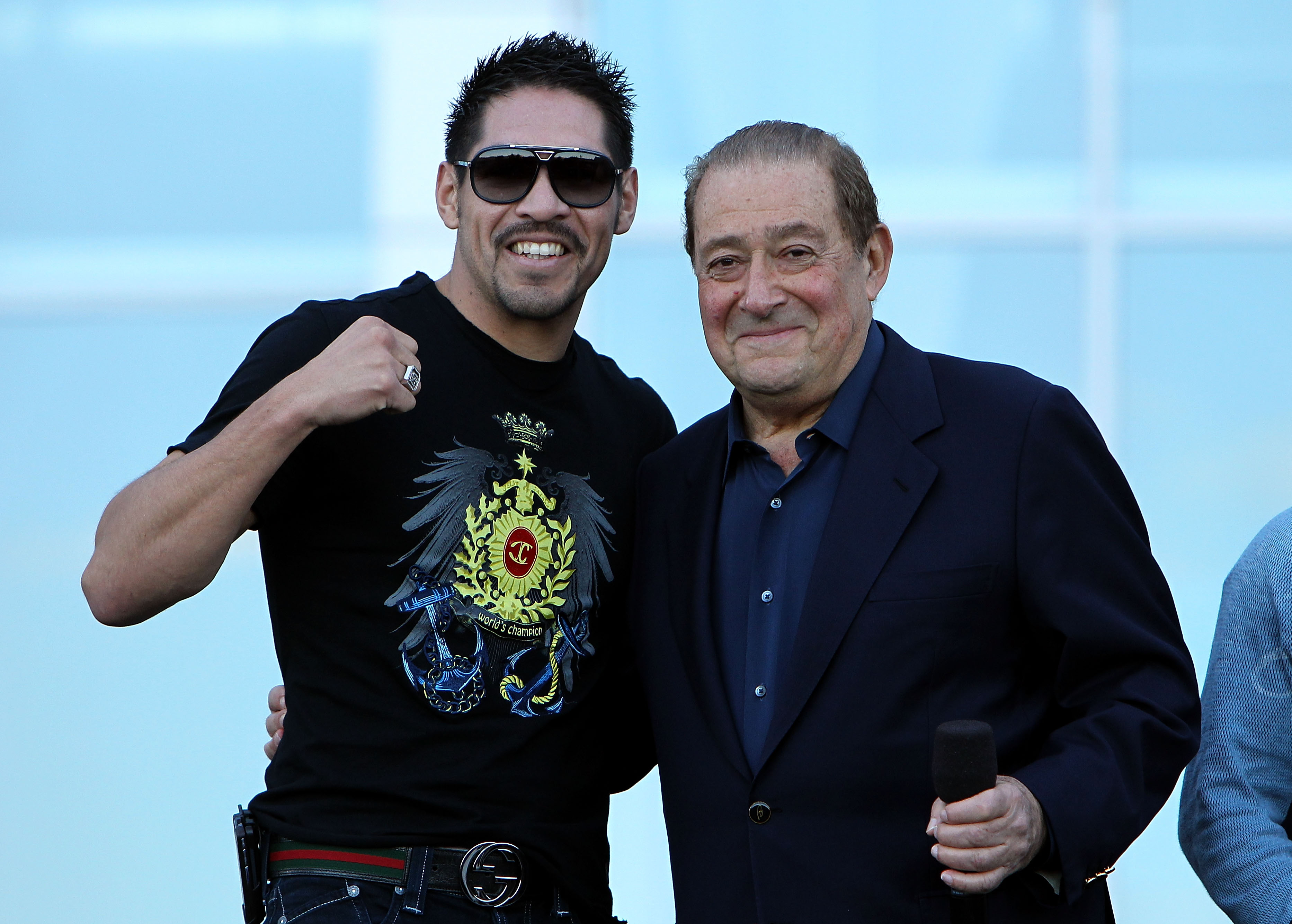 ARLINGTON, TX - MARCH 12:  Boxer Antonio Margarito of Mexico and promoter Bob Arum pose in front of Cowboys Stadium before the weigh-in for the WBO welterweight title fight between Manny Pacquiao of the Philippines and Joshua Clottey of Ghana on March 12,