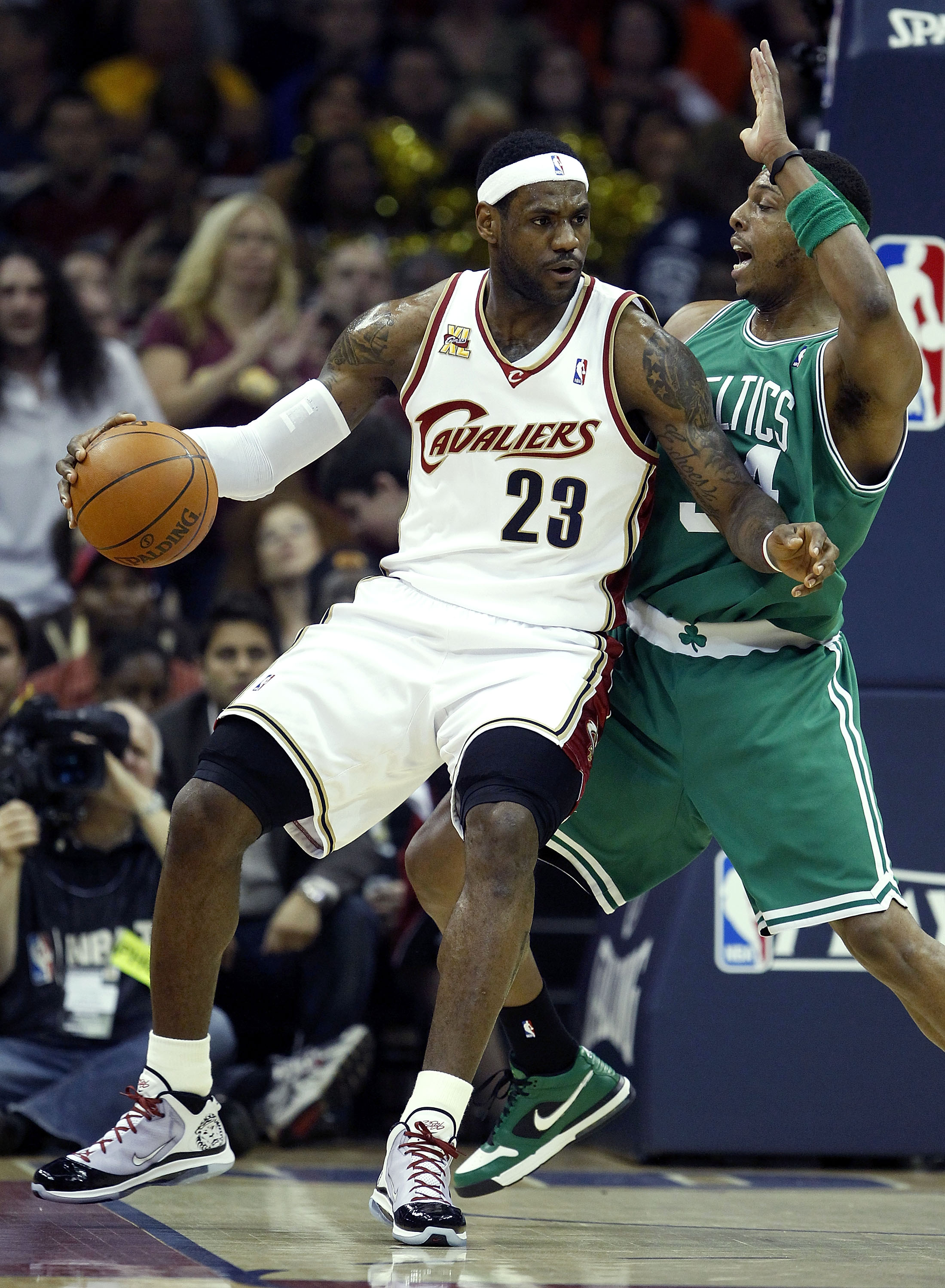 CLEVELAND - MAY 01:  LeBron James #23 of the Cleveland Cavaliers tries to get around Paul Pierce #34 of the Boston Celtics in Game One of the Eastern Conference Semifinals during the 2010 NBA Playoffs at Quicken Loans Arena on May 1, 2010 in Cleveland, Oh