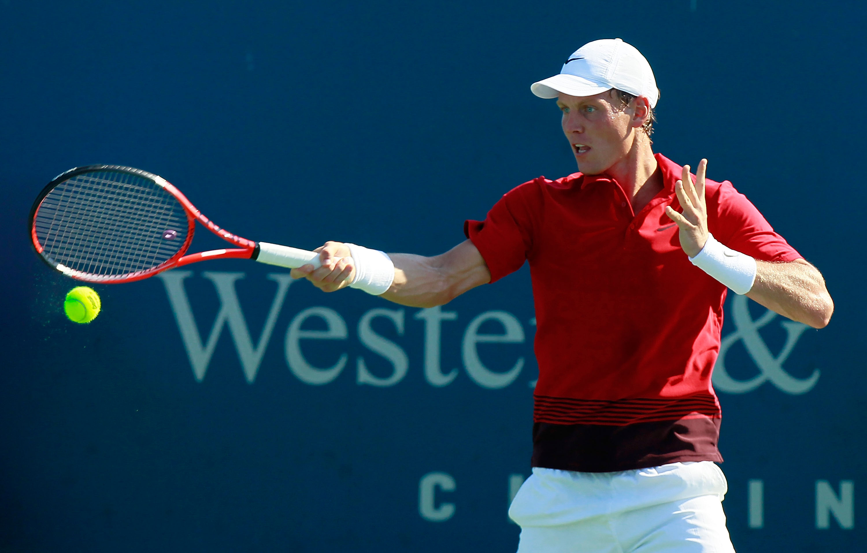 CINCINNATI - AUGUST 19:  Tomas Berdych of the Czech Republic returns a forehand to Marcos Baghdatis of Cyprus during Day 4 of the Western & Southern Financial Group Masters at the Lindner Family Tennis Center on August 19, 2010 in Cincinnati, Ohio.  (Phot