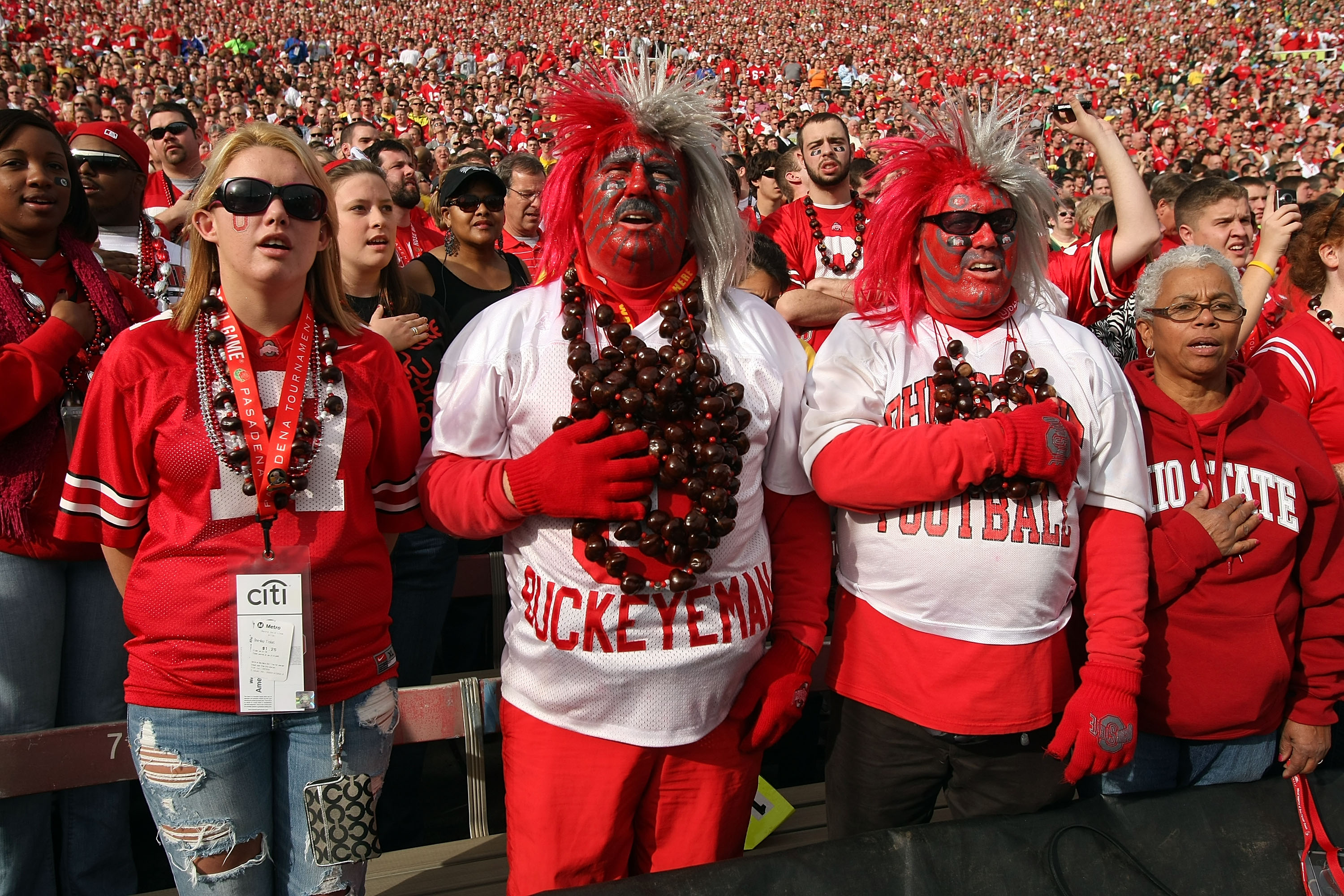 Ohio State fans go all out with their garb on game day.