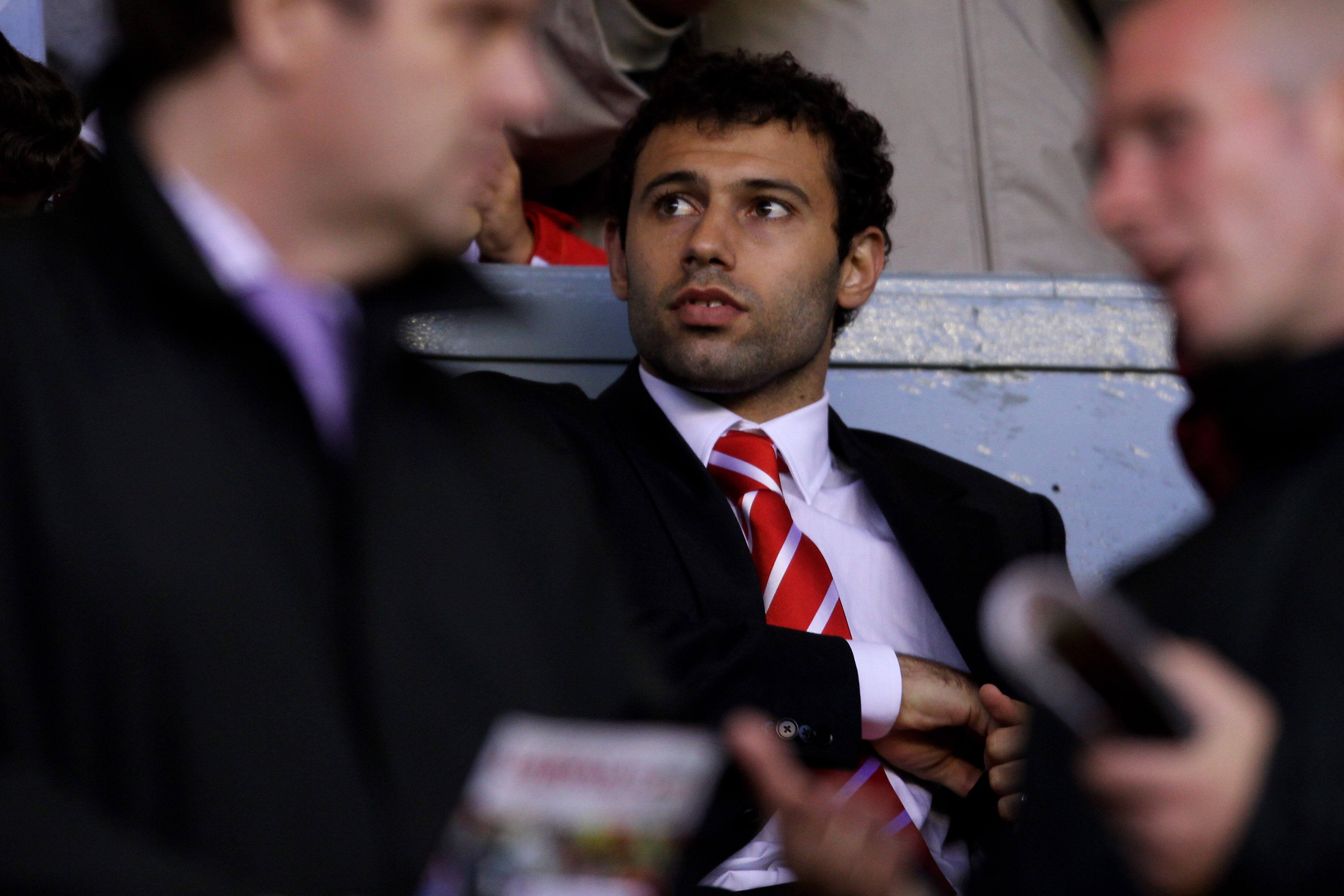 LIVERPOOL, ENGLAND - AUGUST 19:  Javier Mascherano of Liverpool looks on from the stands during the UEFA Europa League play-off first leg match beteween Liverpool and Trabzonspor at Anfield on August 19, 2010 in Liverpool, England.  (Photo by Alex Livesey