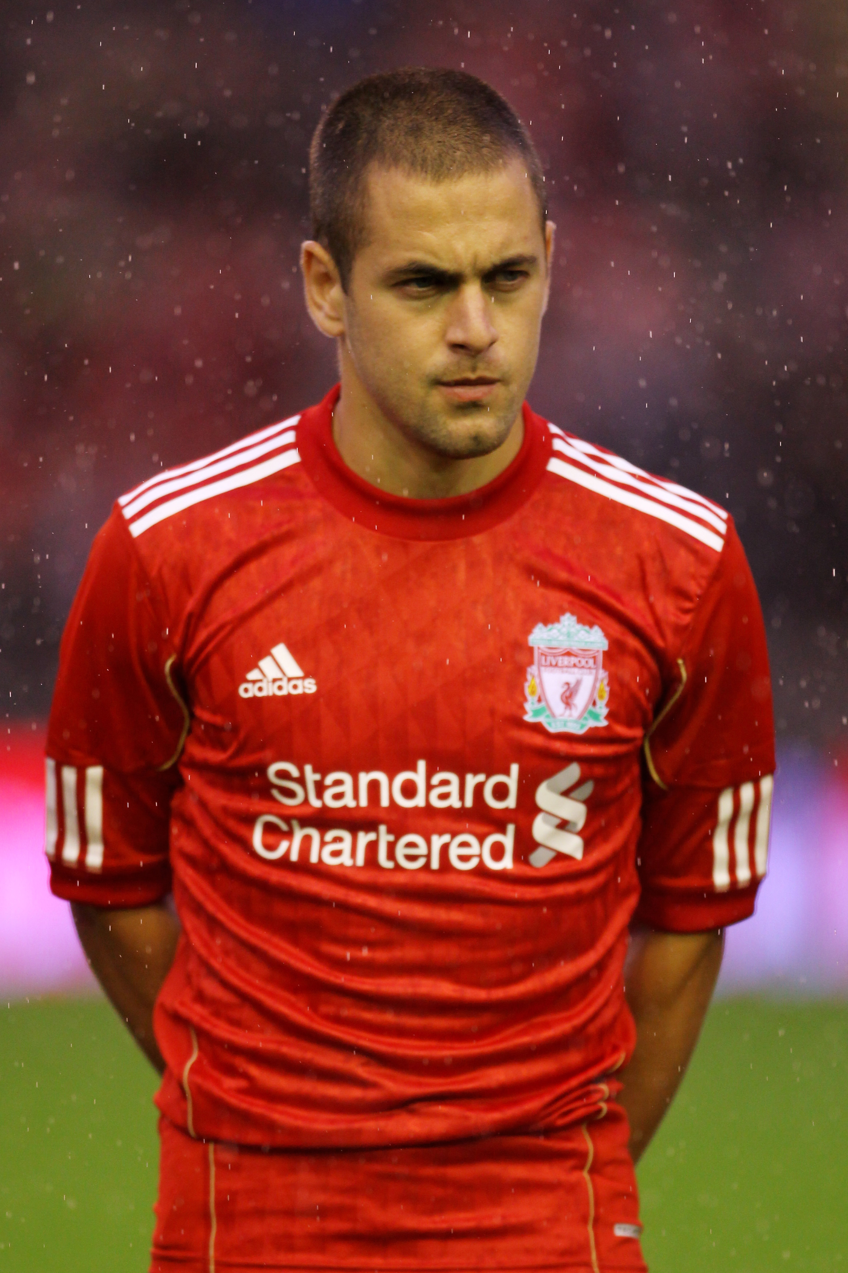 LIVERPOOL, ENGLAND - AUGUST 19:  Joe Cole of Liverpool looks on prior to the UEFA Europa League play-off first leg match beteween Liverpool and Trabzonspor at Anfield on August 19, 2010 in Liverpool, England.  (Photo by Alex Livesey/Getty Images)