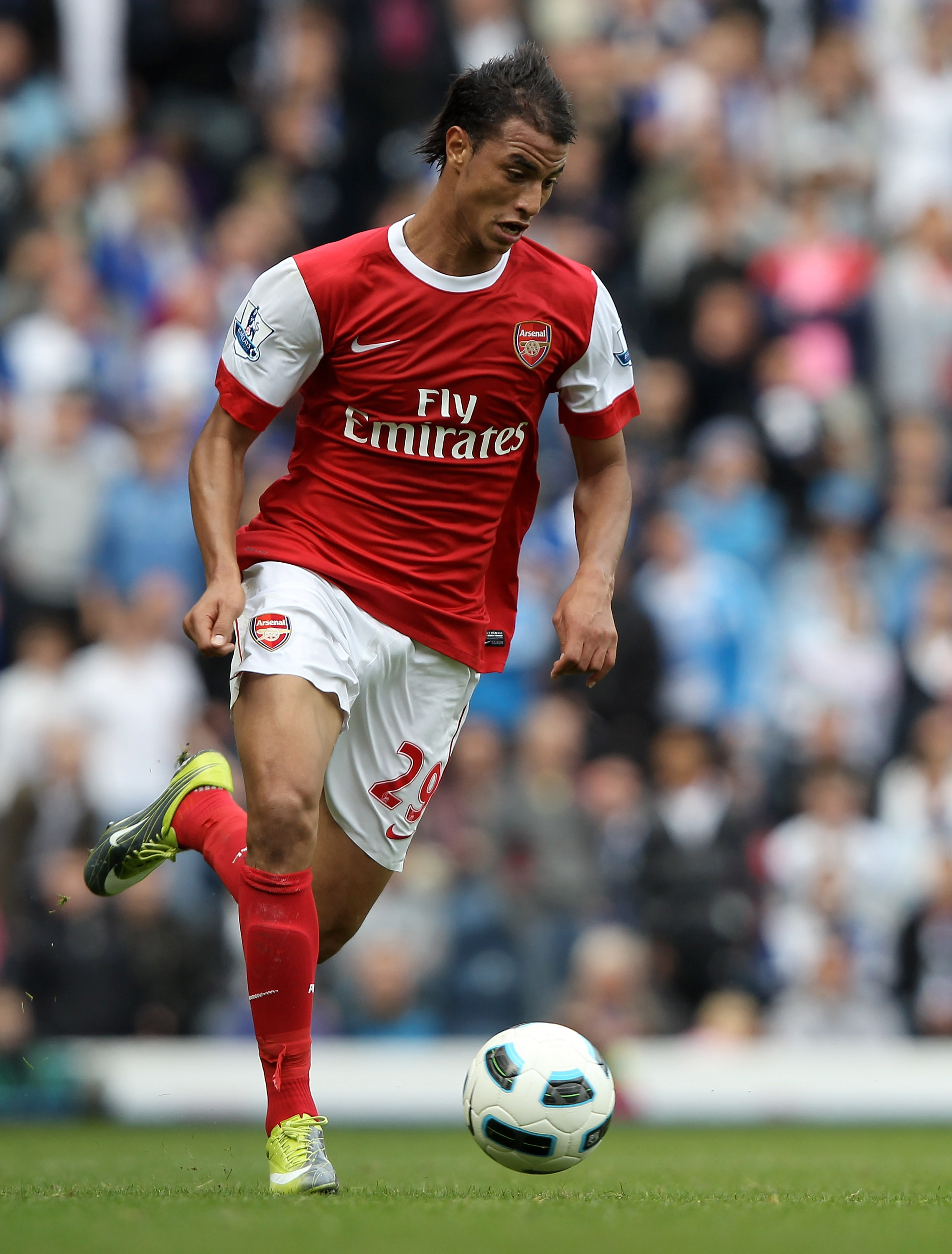 BLACKBURN, ENGLAND - AUGUST 28:  Maroune Chamakh of Arsenal in action during the Barclays Premier League match between Blackburn Rovers and Arsenal at Ewood Park on August 28, 2010 in Blackburn, England.  (Photo by Clive Brunskill/Getty Images)