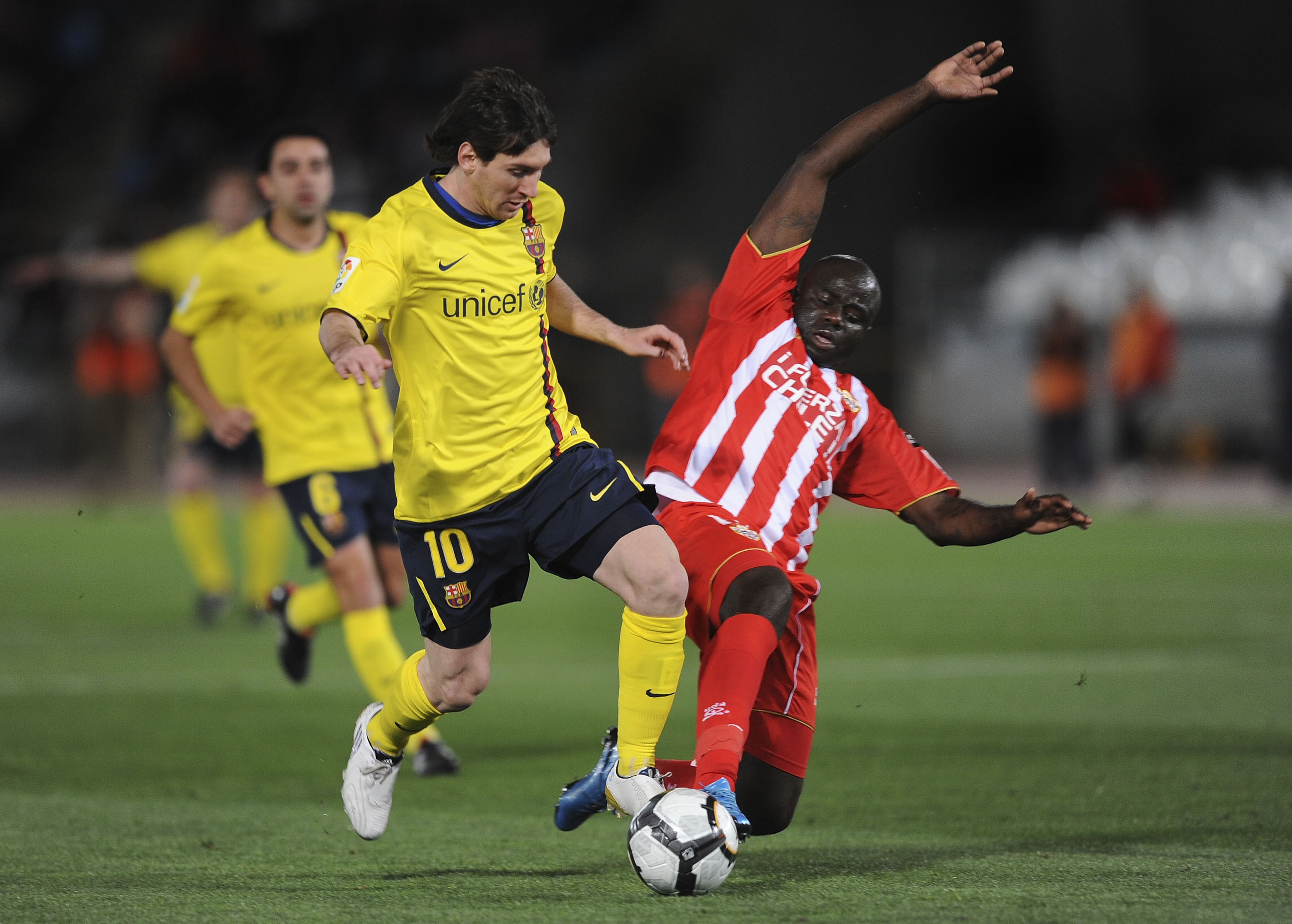 Conbative midfielder Modeste M'Bami will need to use his experience to stop the likes of Leo Messi running his Almeria team off the park