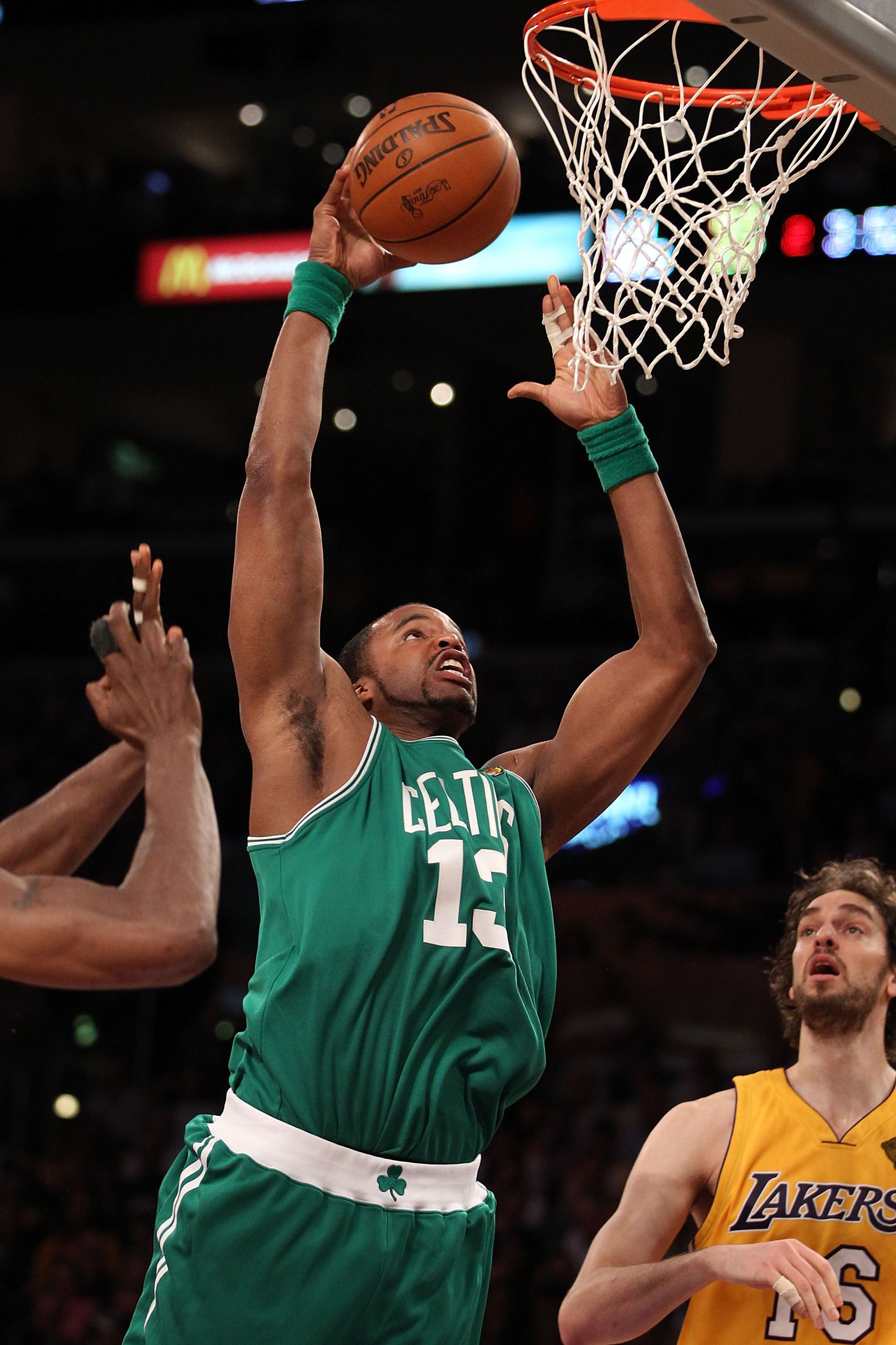 LOS ANGELES, CA - JUNE 15:  Shelden Williams #13 of the Boston Celtics goes up to dunk the ball against the Los Angeles Lakers in Game Six of the 2010 NBA Finals at Staples Center on June 15, 2010 in Los Angeles, California.  NOTE TO USER: User expressly