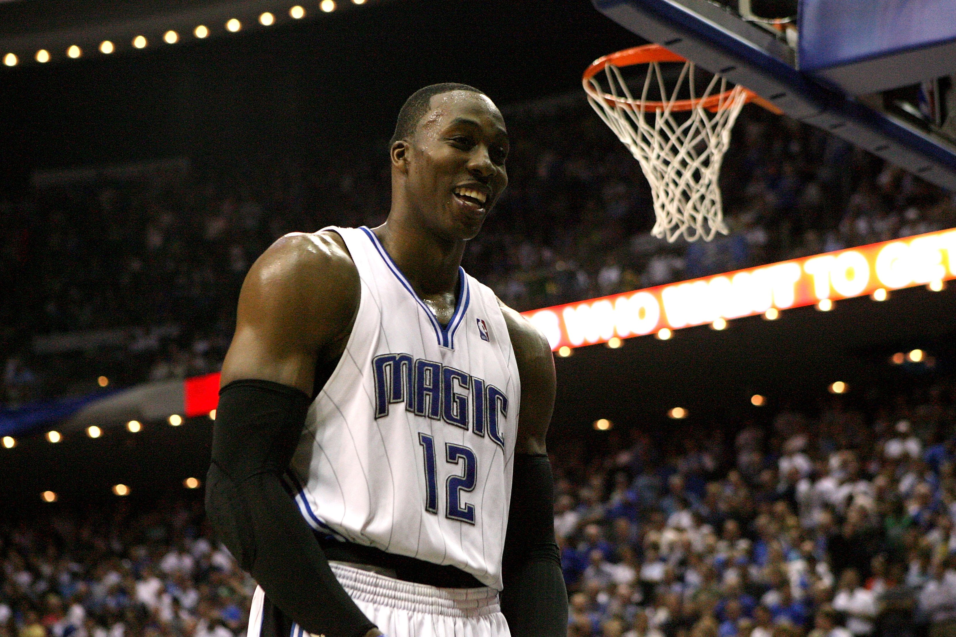 ORLANDO, FL - MAY 18:  Dwight Howard #12 of the Orlando Magic smiles against the Boston Celtics in Game Two of the Eastern Conference Finals during the 2010 NBA Playoffs at Amway Arena on May 18, 2010 in Orlando, Florida.  NOTE TO USER: User expressly ack