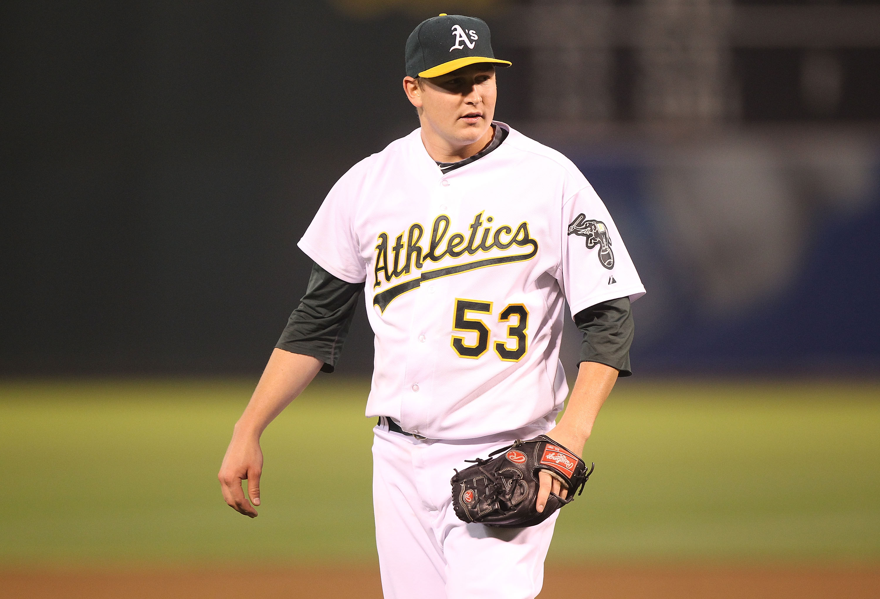 OAKLAND, CA - AUGUST 19:  Trevor Cahill #53 of the Oakland Athletics looks on after striking out Evan Longoria of the Tampa Bay Rays in the eighth inning during an MLB game at the Oakland-Alameda County Coliseum on August 19, 2010 in Oakland, California.