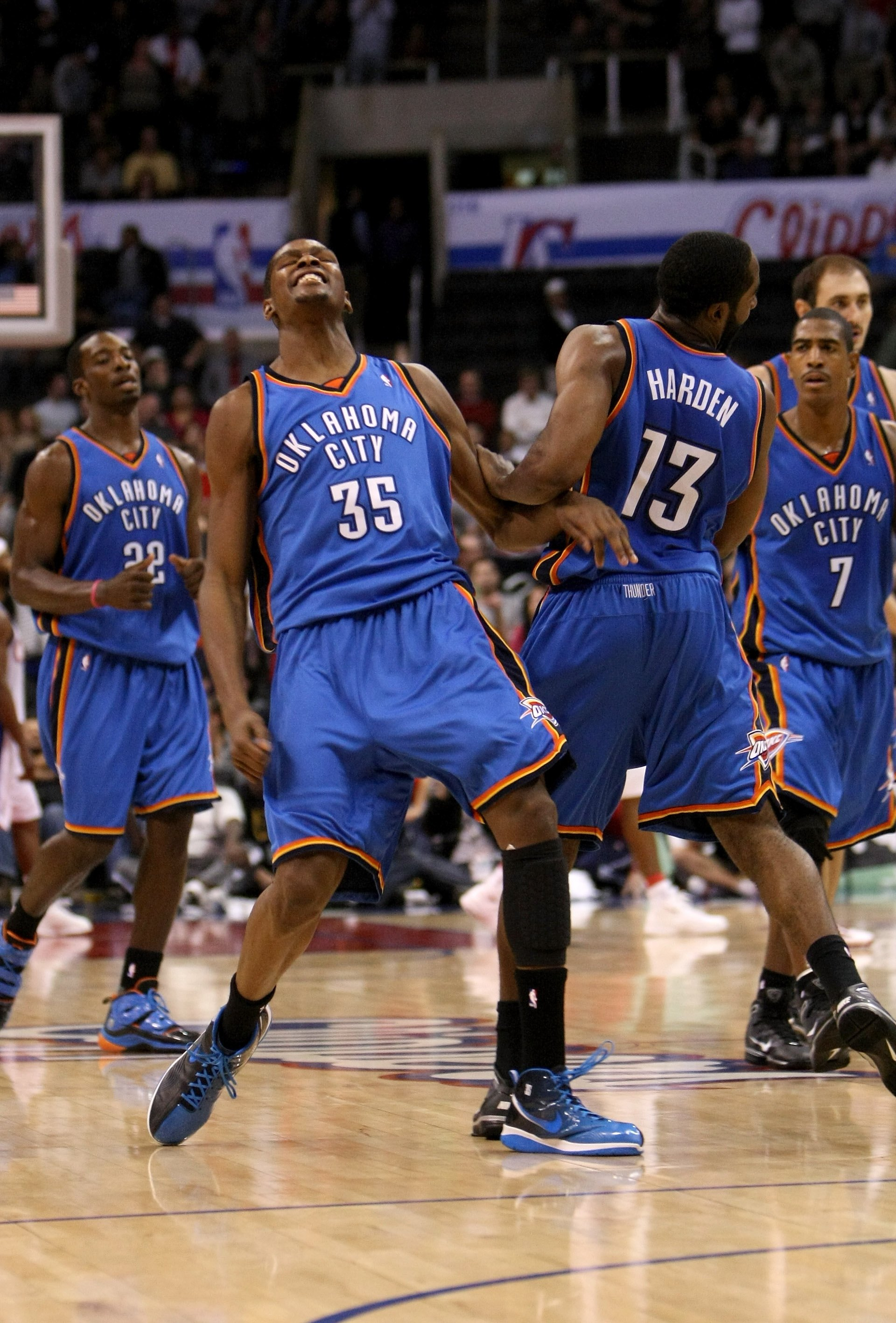 LOS ANGELES, CA - NOVEMBER 11:  Kevin Durant #35 of  the Oklahoma City Thunder celebrates with James Harden #13 after his basket gave the Thunder the lead for good with 38 seconds remaining in the game with  the Los Angeles Clippers on November 11, 2009 a