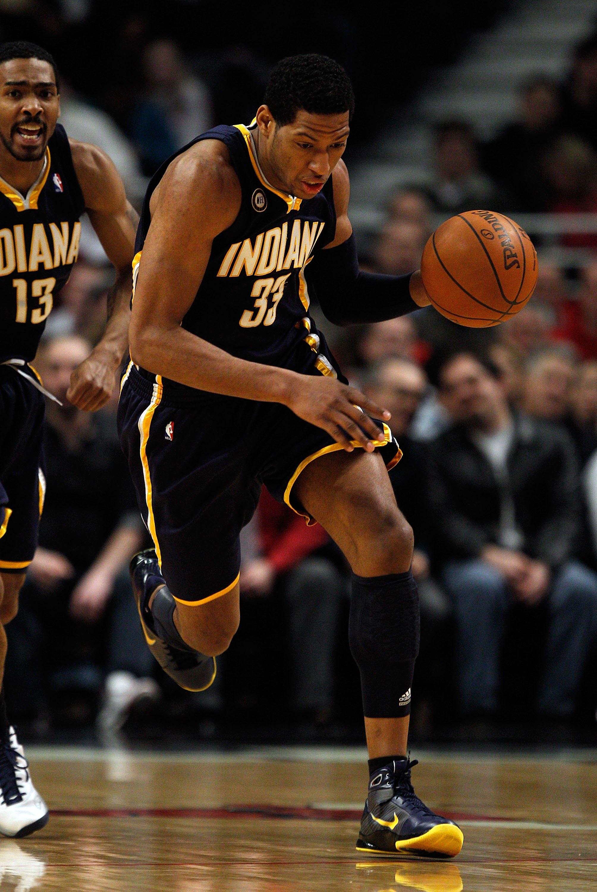 CHICAGO - FEBRUARY 24: Danny Granger #33 of the Indiana Pacers runs up the court against the Chicago Bulls at the United Center on February 24, 2010 in Chicago, Illinois. The Bulls defeated the Pacers 120-110. NOTE TO USER: User expressly acknowledges and