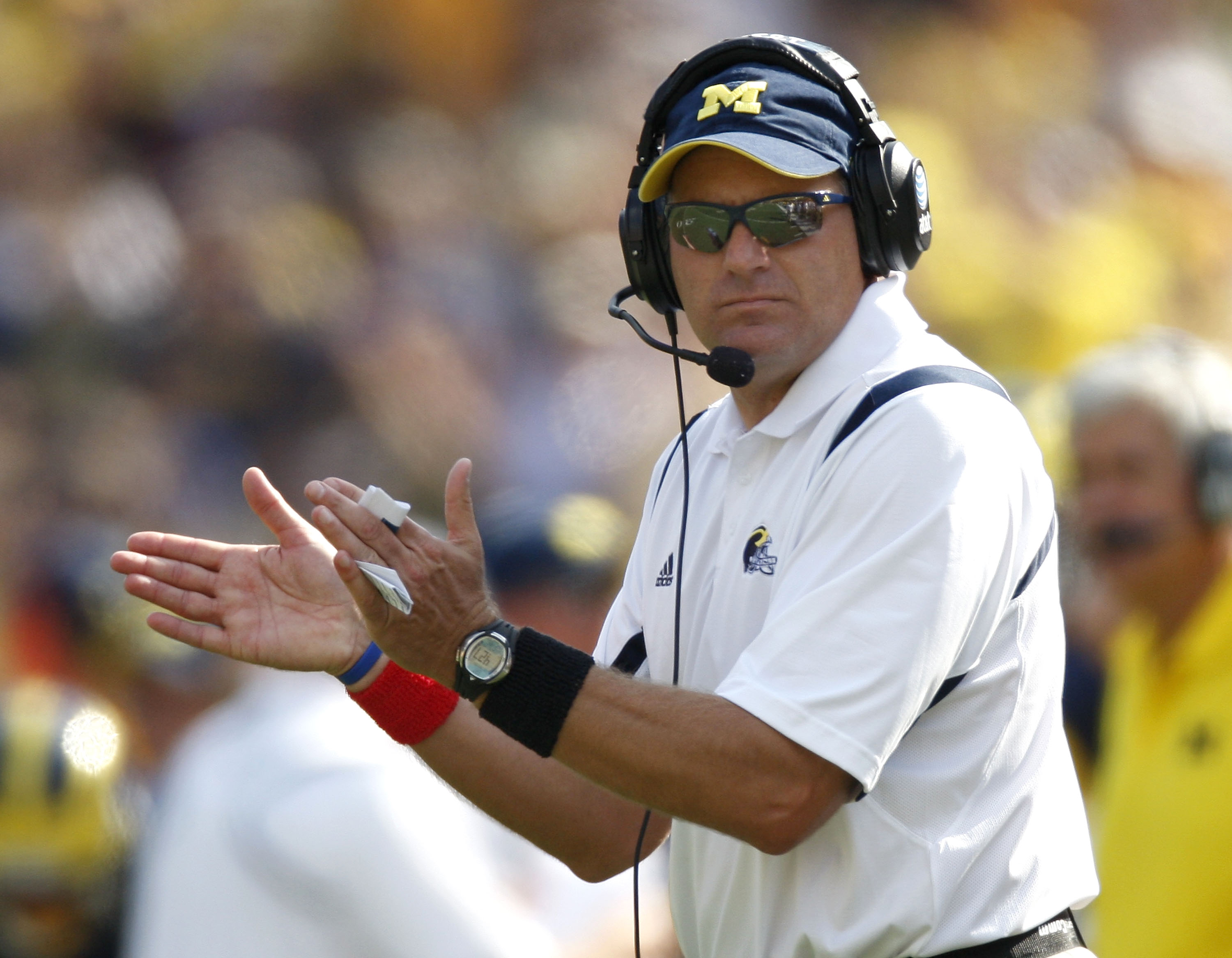 ANN ARBOR, MI - SEPTEMBER 05: Head coach Rich Rodriguez claps after a second quarter field goal against the Western Michigan Broncos vs. Michigan Wolverines on September 5, 2009 at Michigan Stadium in Ann Arbor, Michigan.  (Photo by Gregory Shamus/Getty I