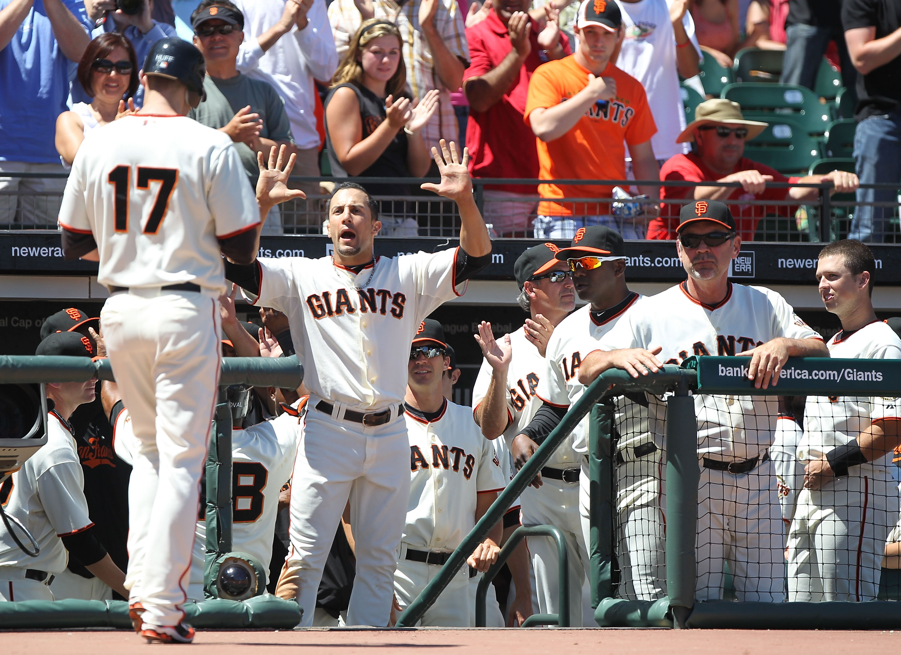 SAN FRANCISCO - JUNE 13:  Aubrey Huff #17 of the San Francisco Giants celebrates with Andres Torres #56 after hitting a two run home run in the sixth inning against the Oakland Athletics during an MLB game at AT&T Park on June 13, 2010 in San Francisco, C
