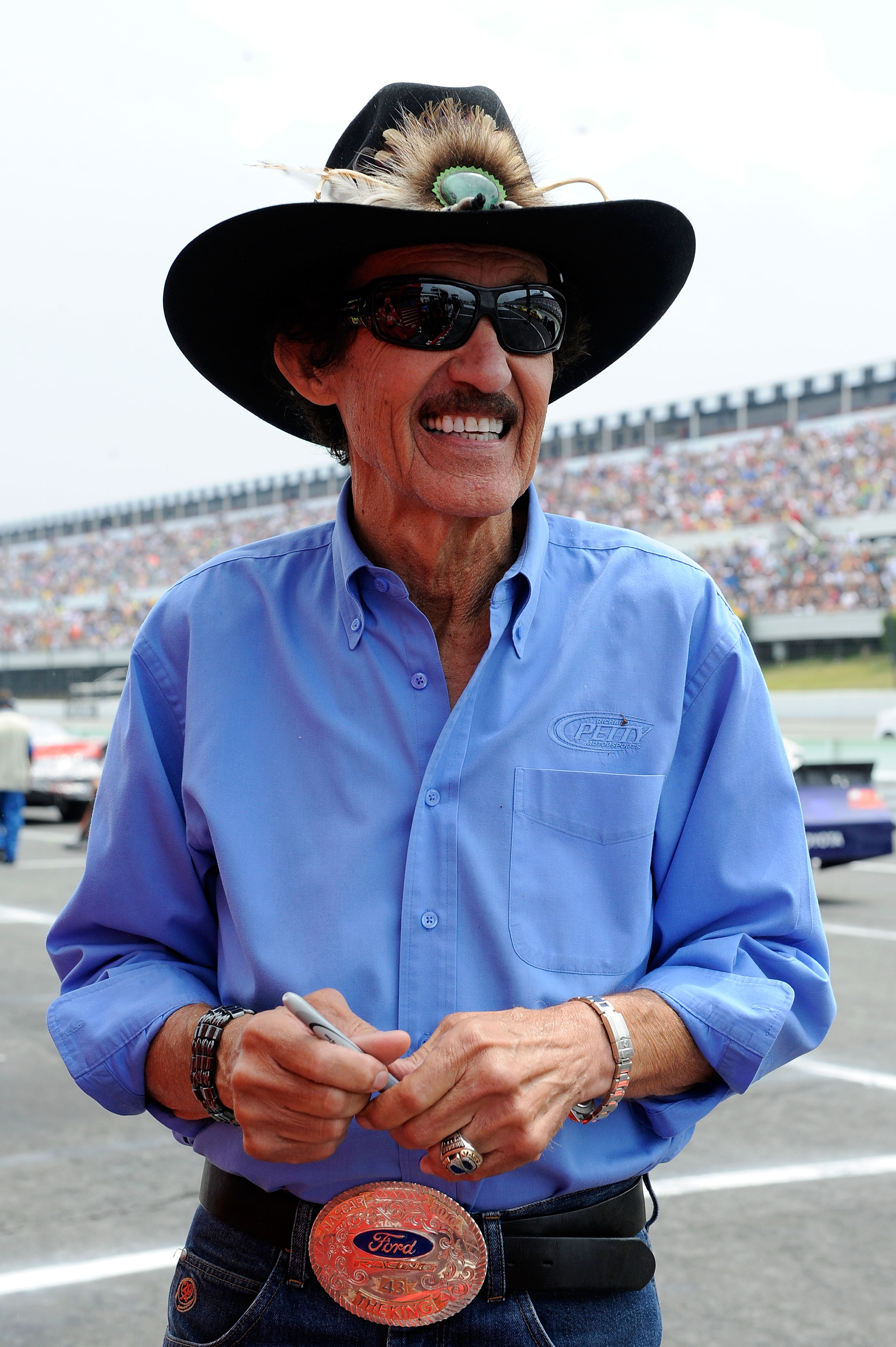 LONG POND, PA - AUGUST 01:  Team owner Richard Petty stands on the grid prior to the start of the NASCAR Sprint Cup Series Sunoco Red Cross Pennsylvania 500 at Pocono Raceway on August 1, 2010 in Long Pond, Pennsylvania.  (Photo by John Harrelson/Getty Im
