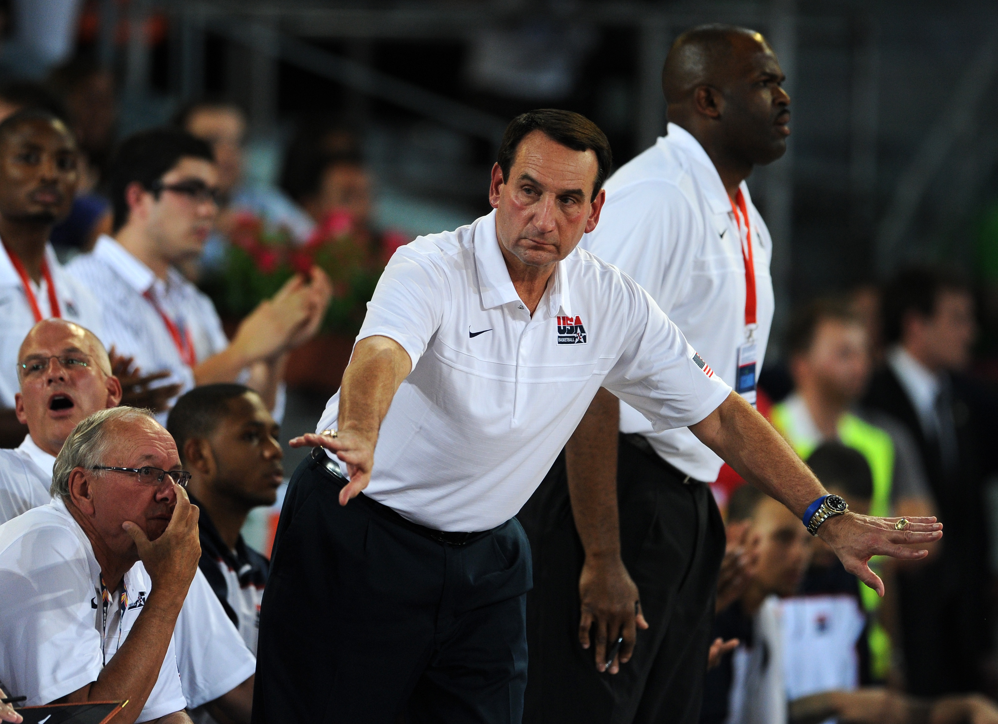 MADRID, SPAIN - AUGUST 22:  Coach Mike Krzyzewsky of the USA gestures during a friendly basketball game between Spain and the USA at La Caja Magica on August 22, 2010 in Madrid, Spain.  (Photo by Jasper Juinen/Getty Images)