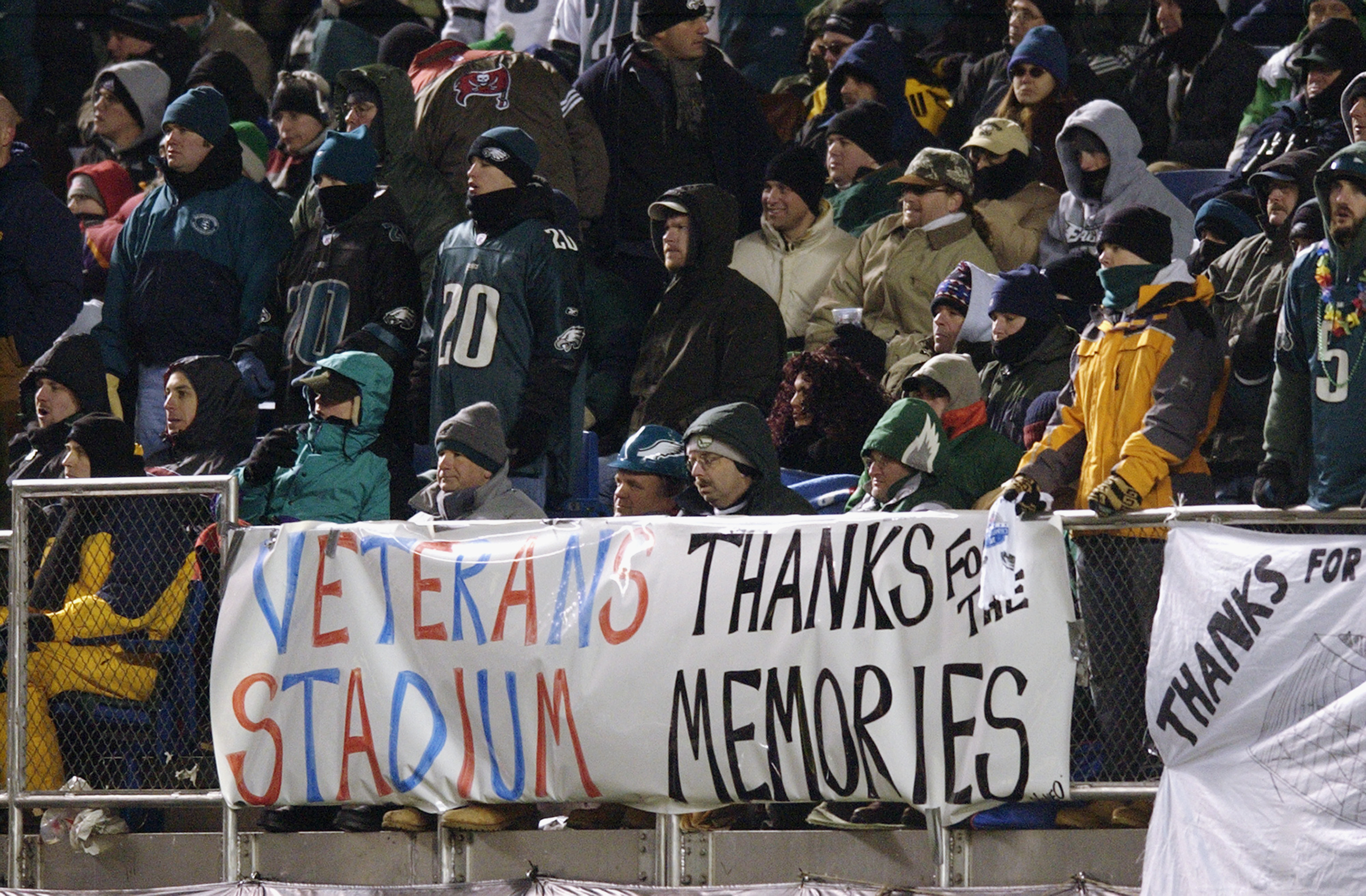 PHILADELPHIA - JANUARY 19:  Fans show their appreciation to Veterans Stadium during the NFC Championship game between the Tampa Bay Buccaneers and the Philadelphia Eagles on the last game to be played at Veterans Stadium on January 19, 2003 in Philadelphi