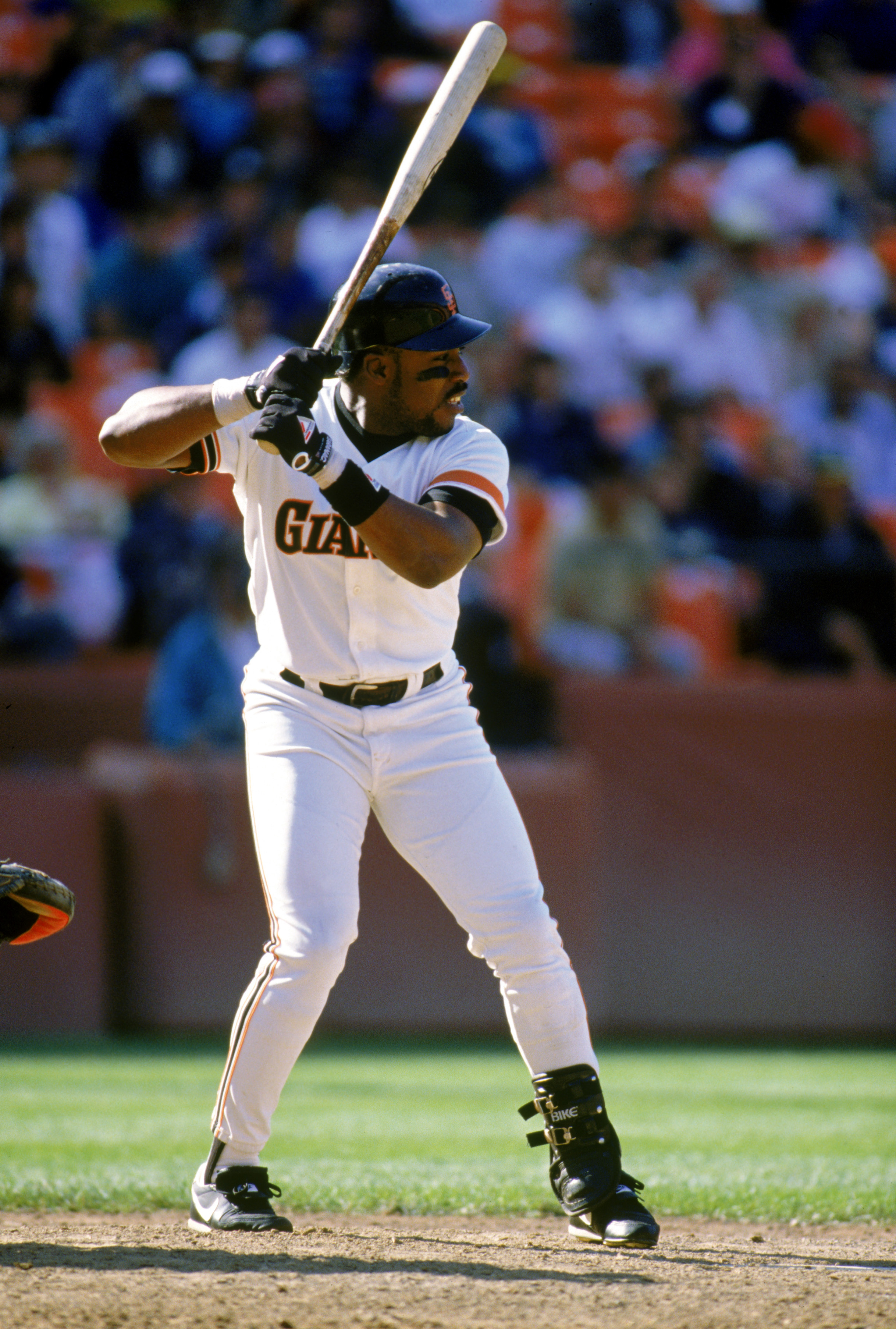 SAN FRANCISCO - 1989:  Kevin Mitchell #7 of the San Francisco Giants waits for the pitch during a 1989 game at Candlestick Park in San Francisco, California.  (Photo by Otto Greule Jr/Getty Images)