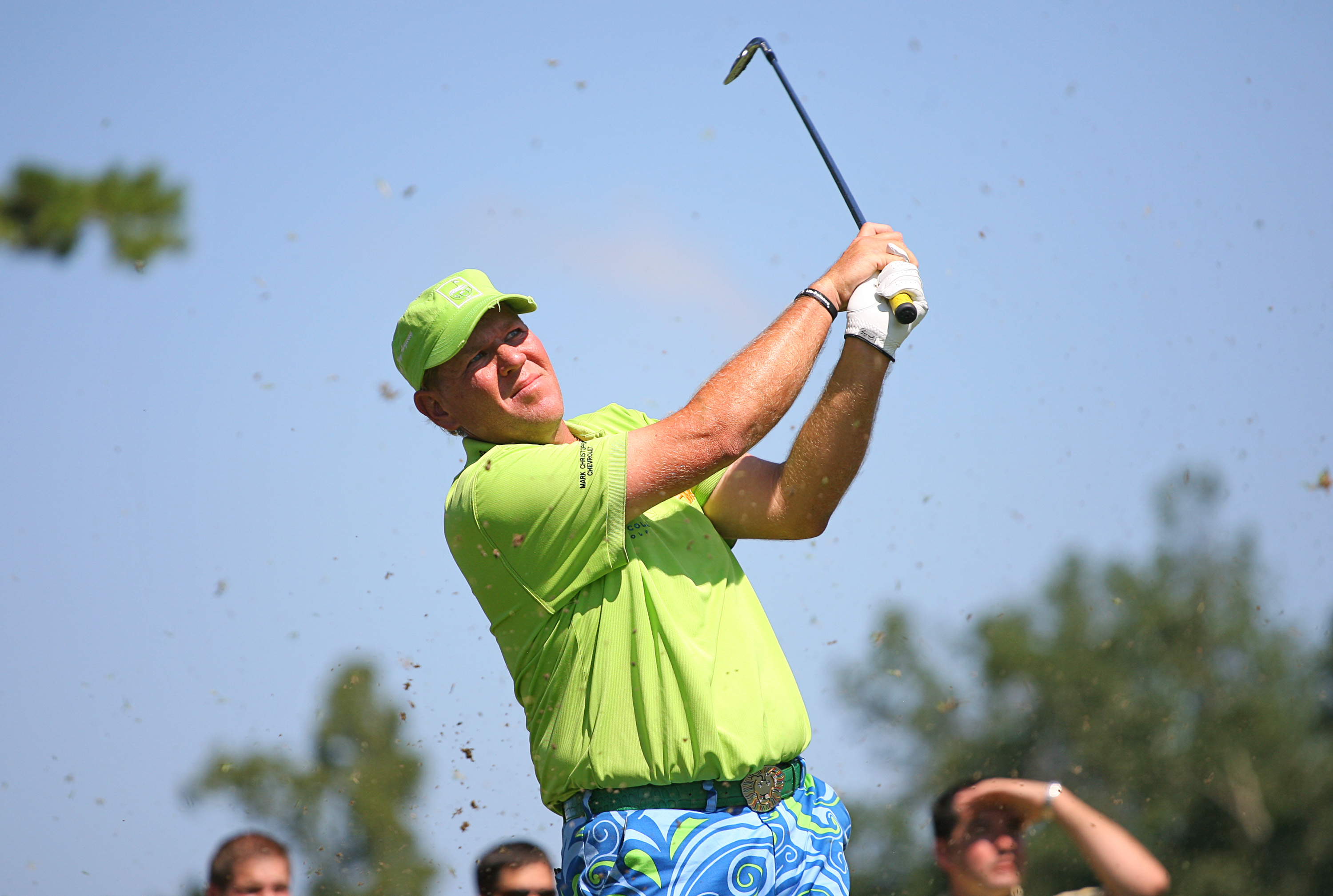 GREENSBORO, NC - AUGUST 20: John Daly hits his tee shot on the 16th hole during the second round of the Wyndham  Championship at Sedgefield Country Club on August 20, 2010 in Greensboro, North Carolina. (Photo by Hunter Martin/Getty Images)