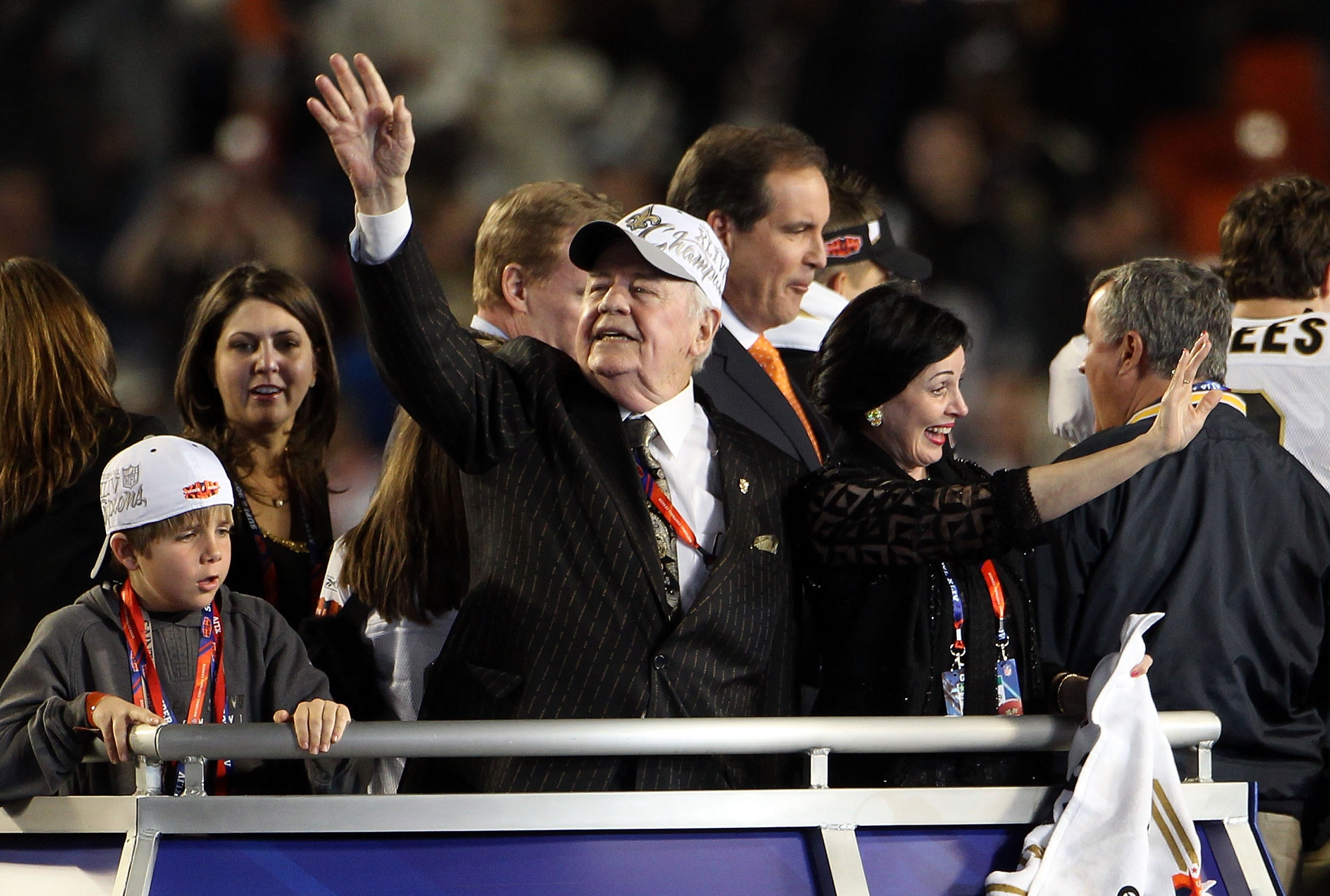 MIAMI GARDENS, FL - FEBRUARY 07:  New Orleans Saints owner Tom Benson celebrates after his team defeated the Indianapolis Colts during Super Bowl XLIV on February 7, 2010 at Sun Life Stadium in Miami Gardens, Florida.  (Photo by Elsa/Getty Images)