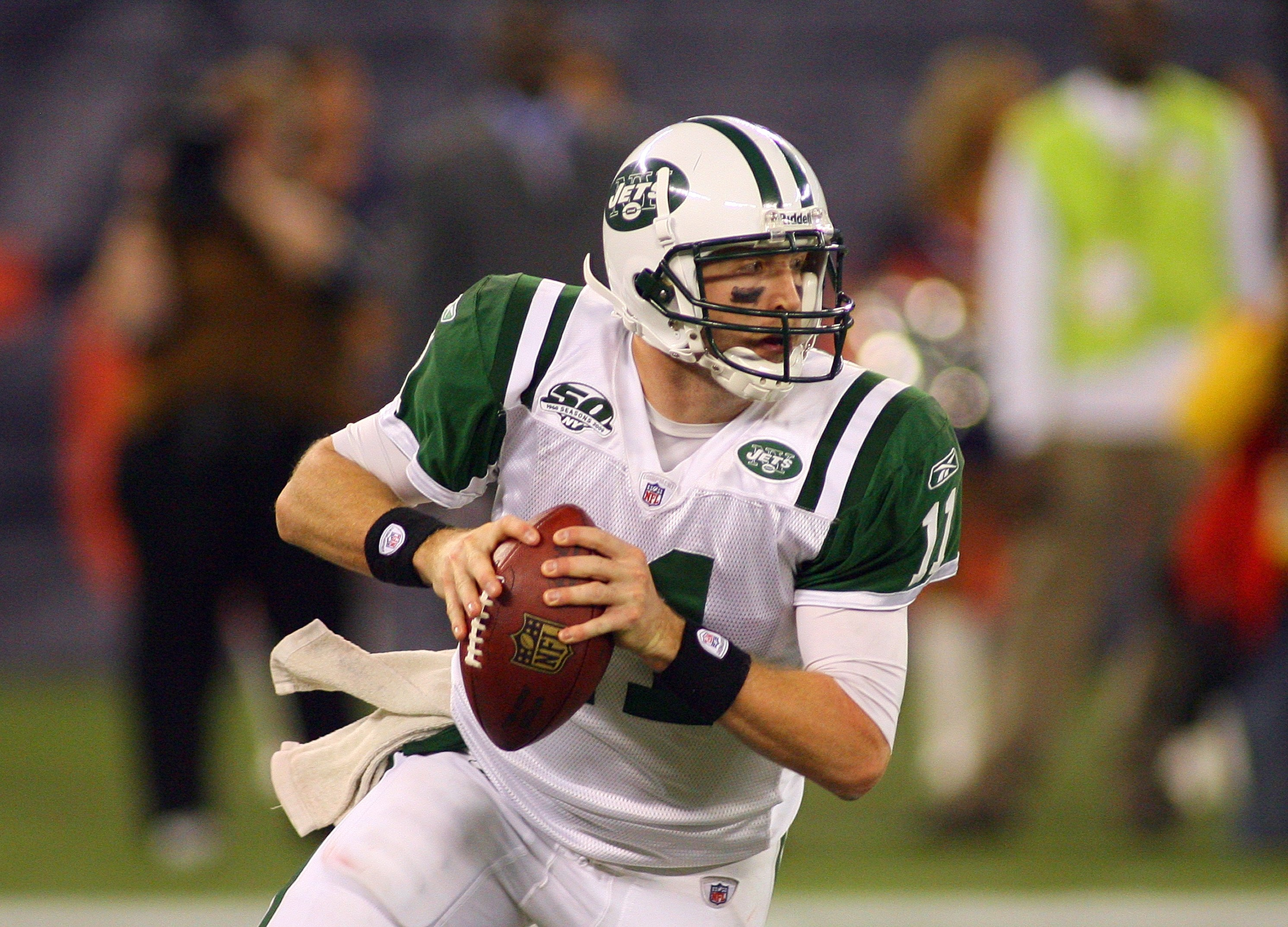 TORONTO - DECEMBER 3:  Quarterback Kellen Clemens #11 of the New York Jets looks to make a pass play during their NFL game against the Buffalo Bills on December 3, 2009  at Rogers Centre in Toronto, Ontario, Canada. The Jets defeated the Bills 19-13. (Pho