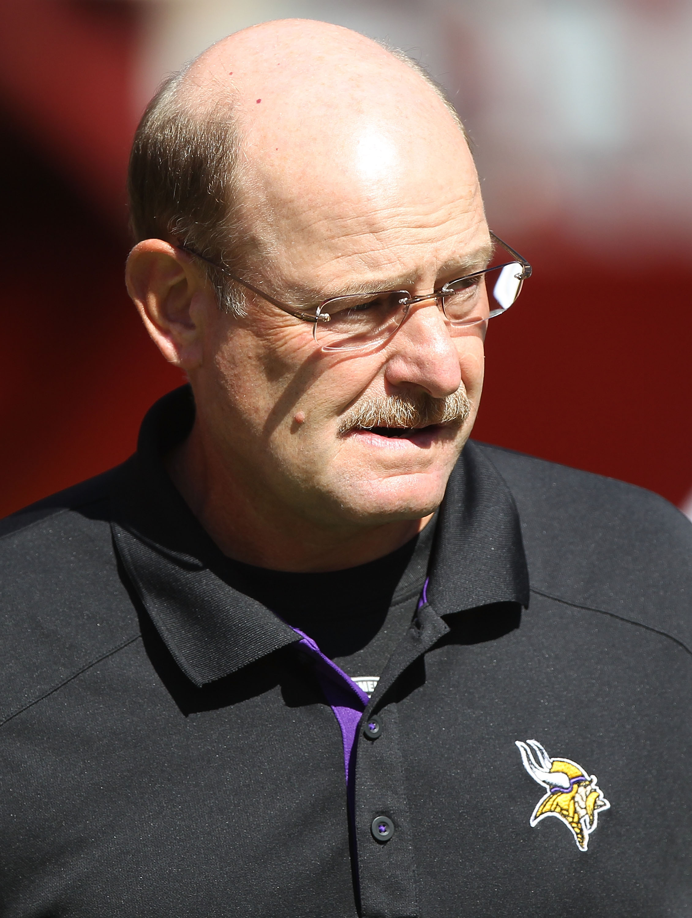 SAN FRANCISCO - AUGUST 22:  Head coach Brad Childress of the Minnesota Vikings looks on against the San Francisco 49er during an NFL pre-season game at Candlestick Park on August 22, 2010 in San Francisco, California. (Photo by Jed Jacobsohn/Getty Images)