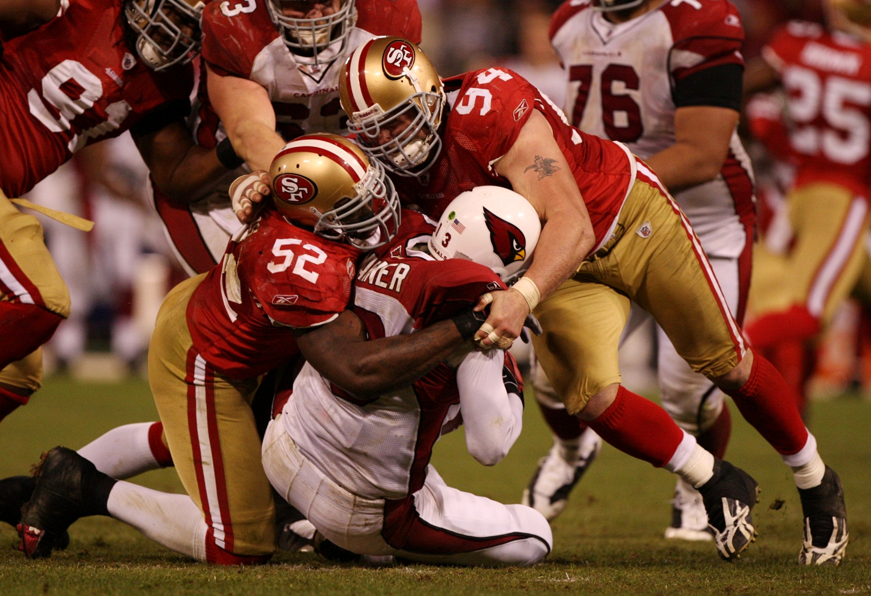 Justin Smith and Patrick Willis Combine For A Sack