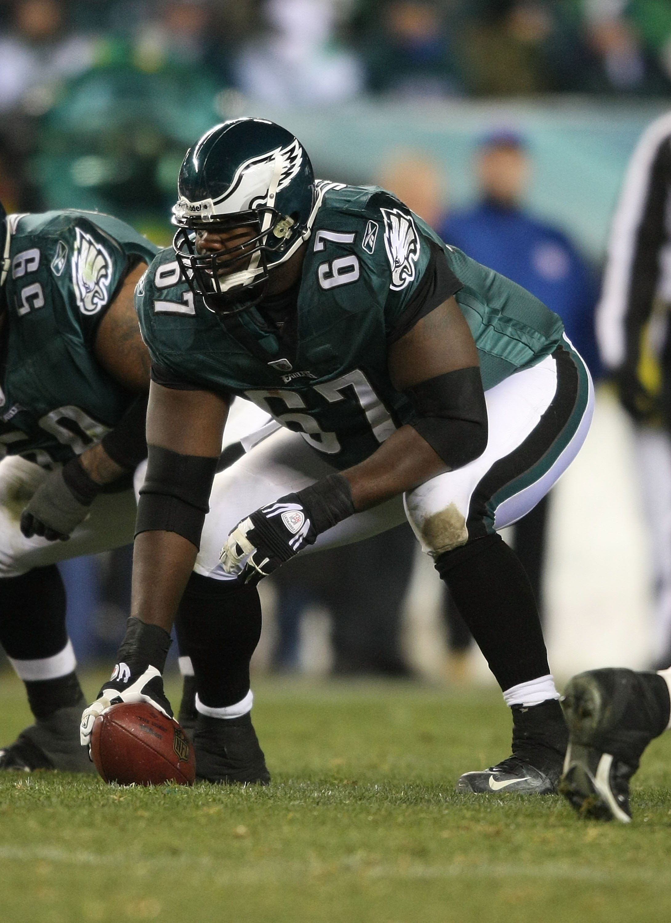 PHILADELPHIA - DECEMBER 20: Jamaal Jackson #67 of the Philadelphia Eagles Eagles lines up against the San Francisco 49ers at Lincoln Financial Field on December 20, 2009 in Philadelphia, Pennsylvania.  (Photo by Nick Laham/Getty Images)