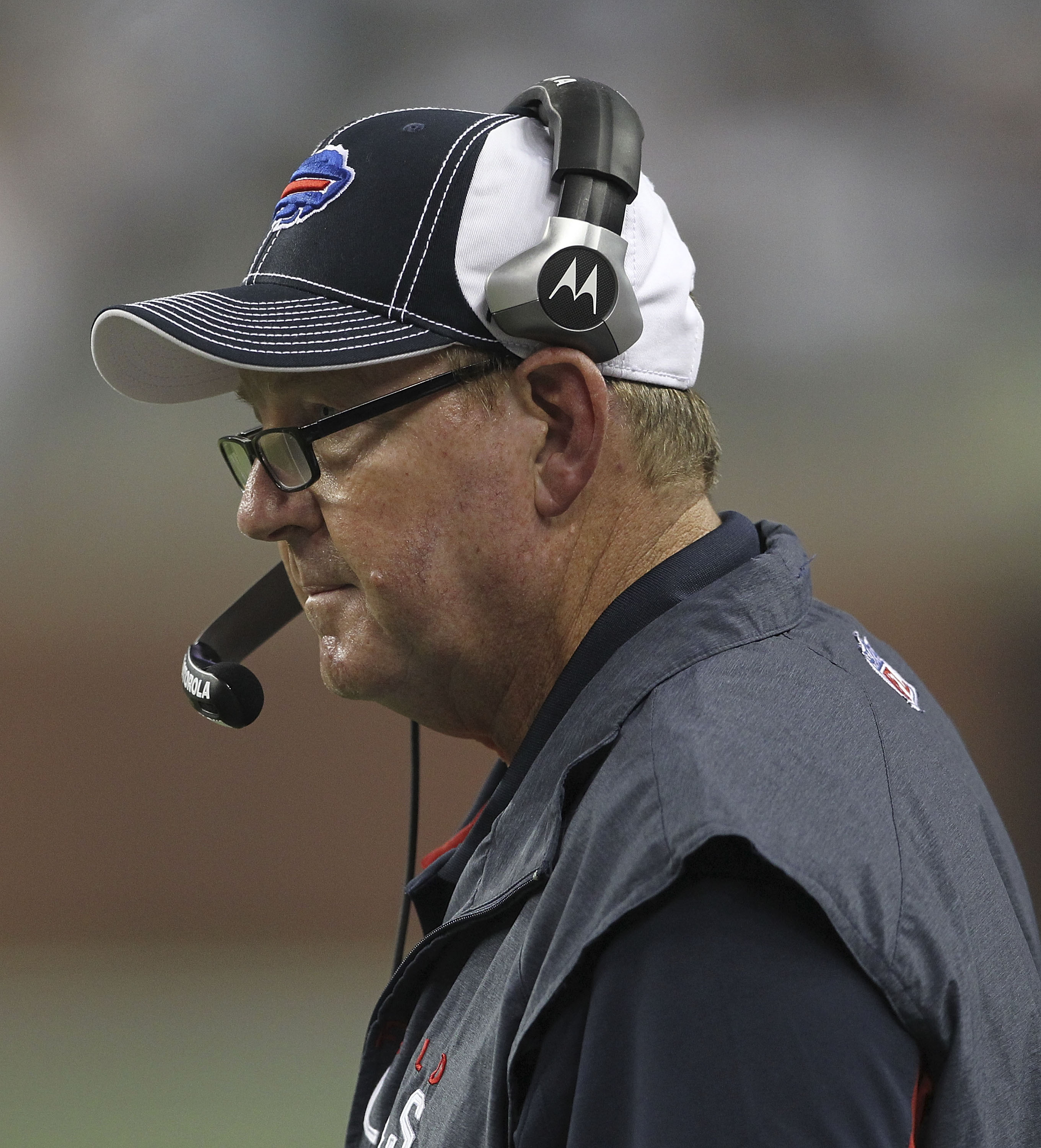 DETROIT - SEPTEMBER 02:  Buffalo Bills head coach Chan Gailey watches the action during the fouth quarter of the preseason game at Ford Field on September 2, 2010 in Detroit, Michigan. The Lions defeated the Bills 28-23.  (Photo by Leon Halip/Getty Images
